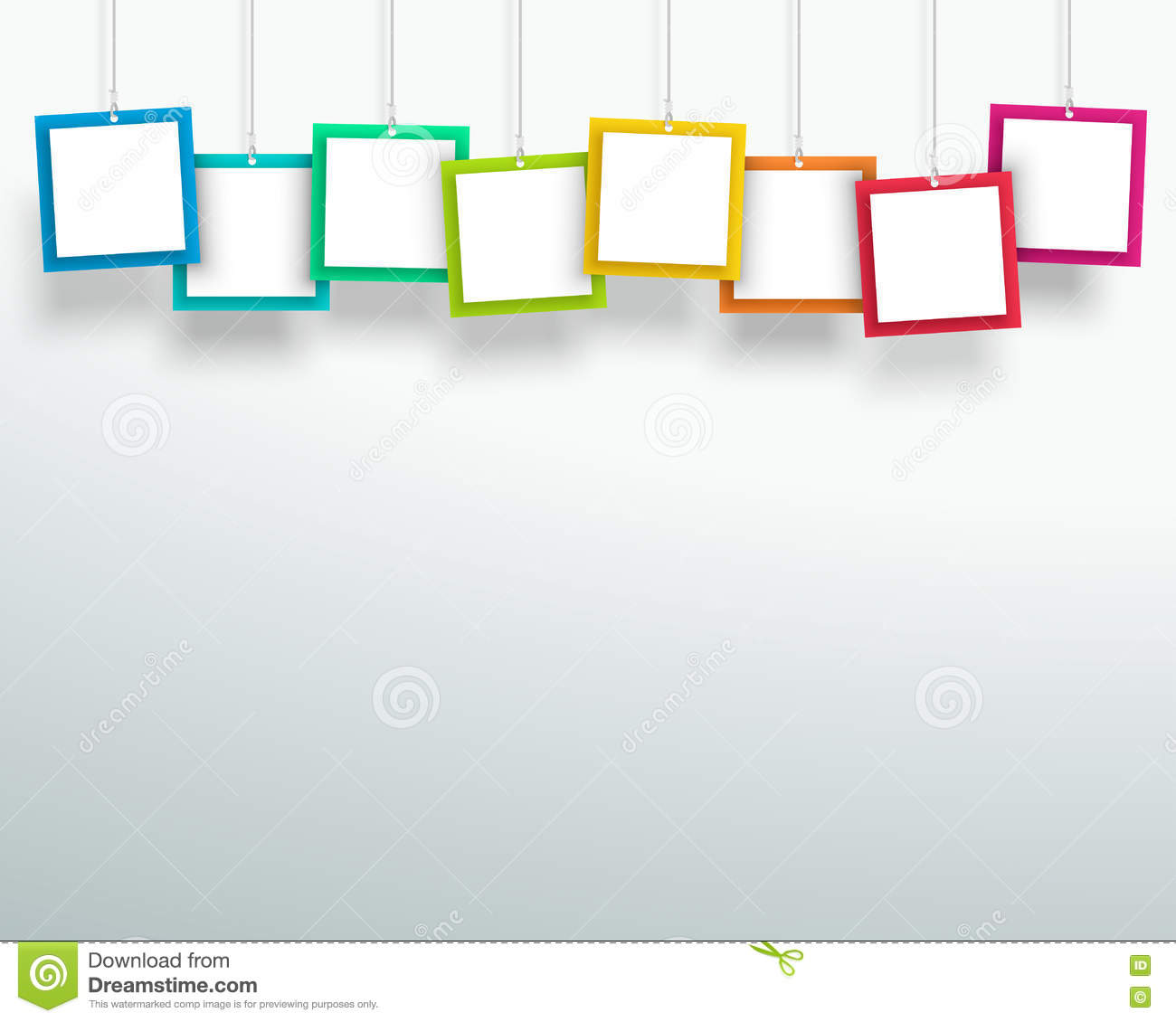 Photo Page: Vector 3d Blank Colourful Square Frames Hanging Design