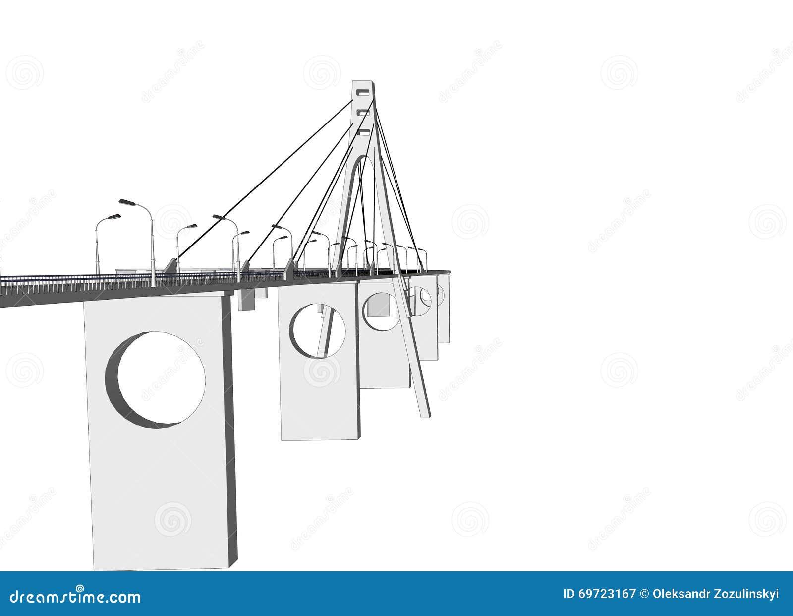 Vector 3d Bridge City Buildings View Stock Vector Illustration Of
