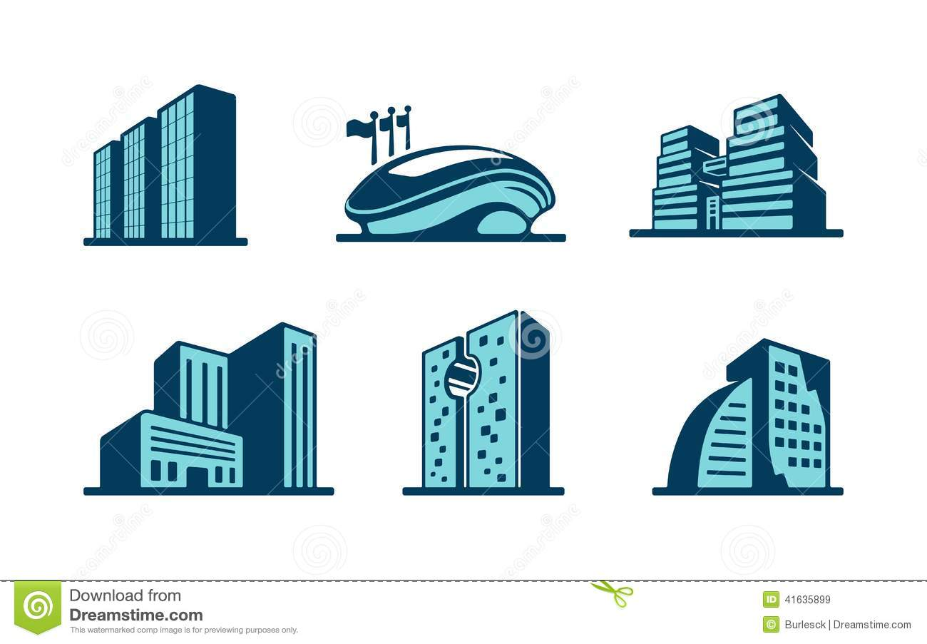 Stock Illustration Vector D Building Icons Set Six Different Modern Skyscrapers High Rise Buildings Sports Stadium Isolated White Image41635899 on Modern Residential Architecture Plans
