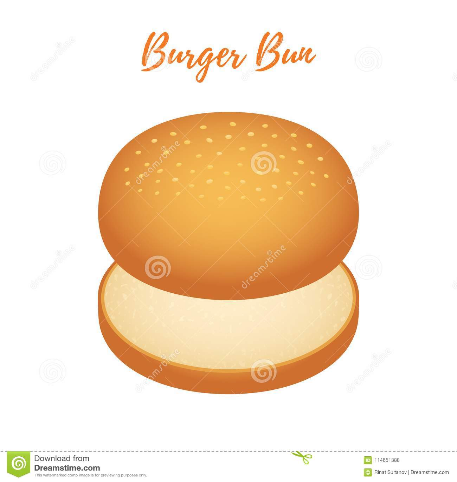 Vector 3d Burger Bun Hamburger Bread Bakery Product