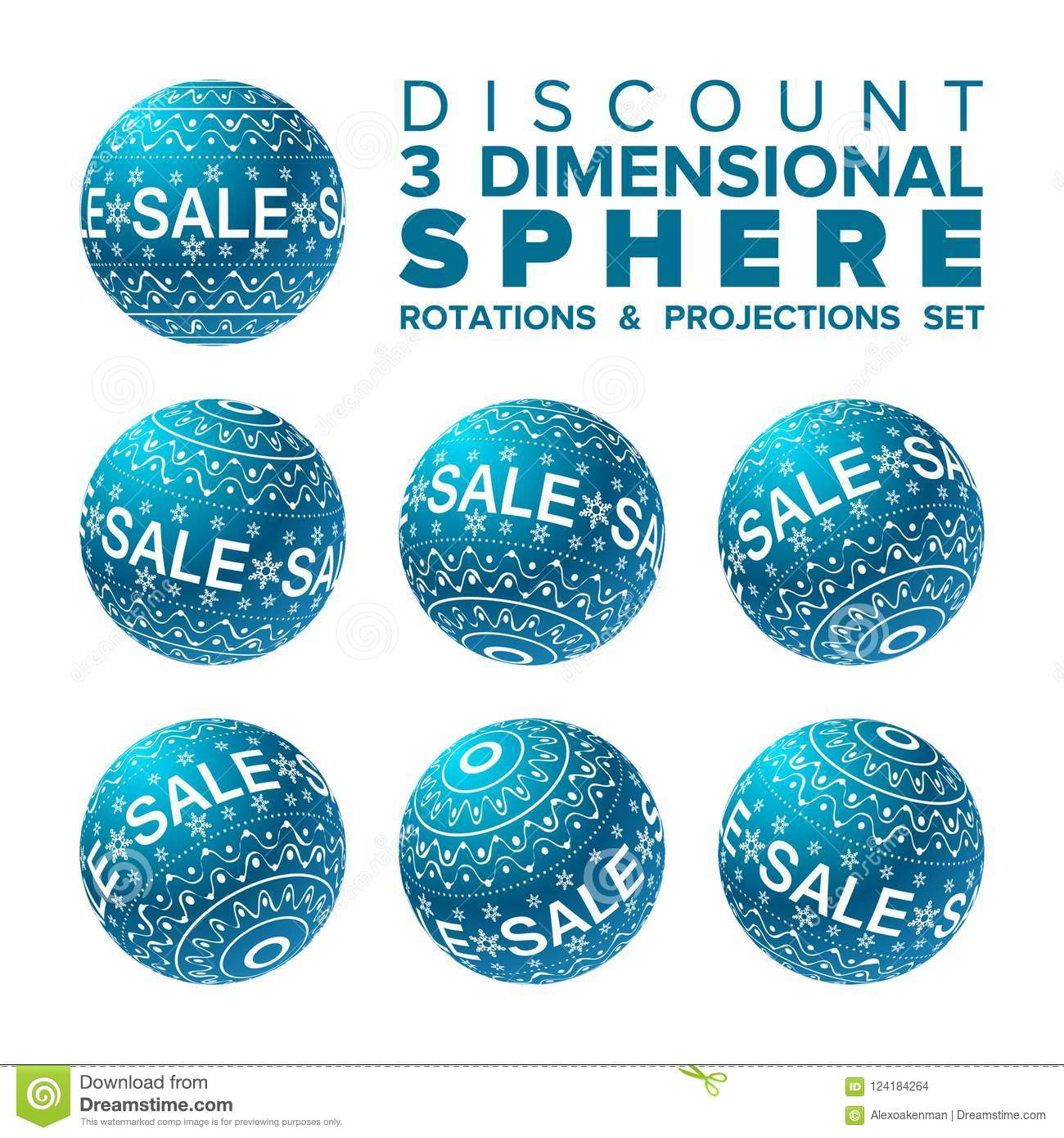vector 3d christmas sale banner blue and white ball rotations and