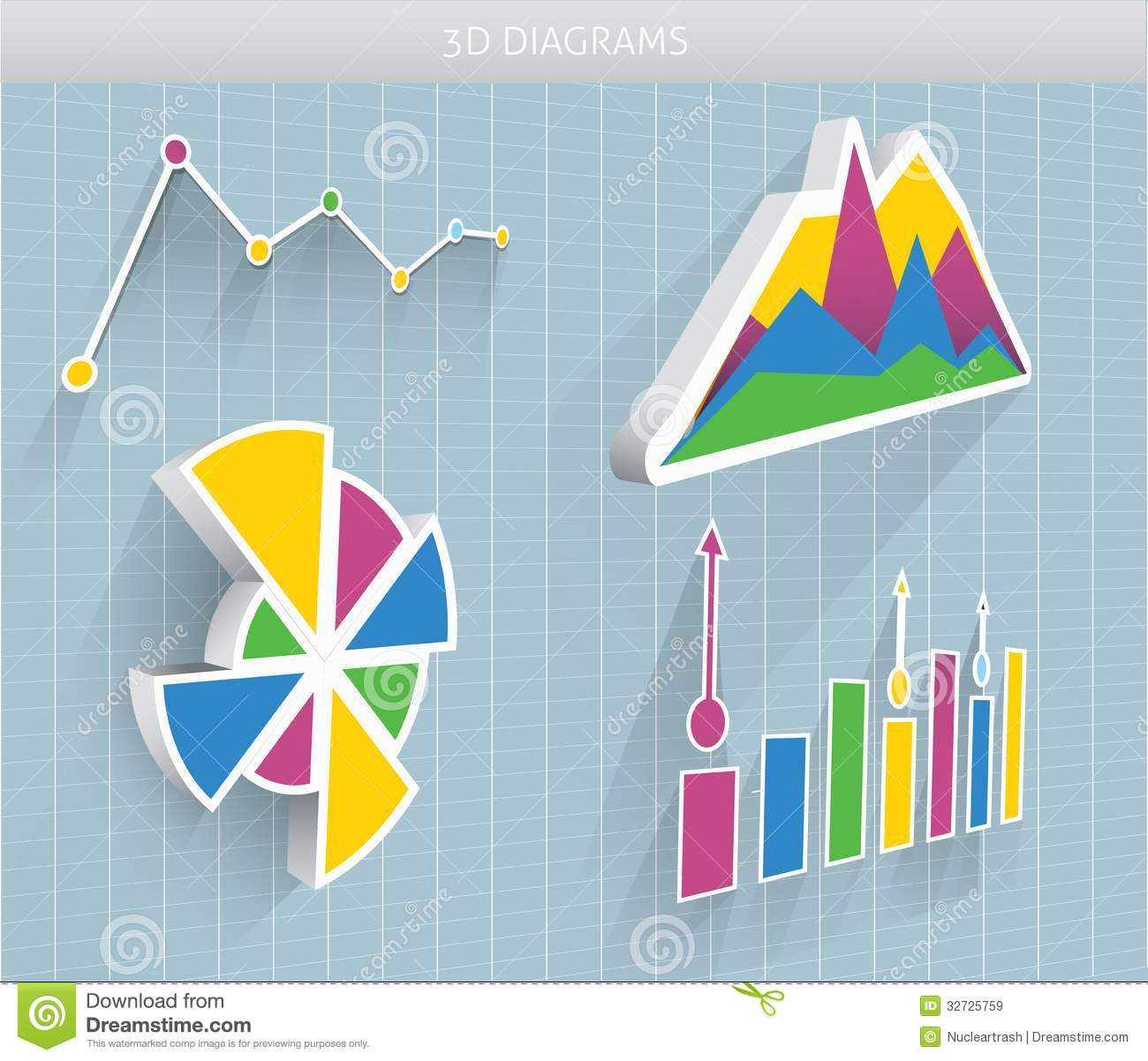 Vector 3d Diagrams Royalty Free Stock Images Image 32725759