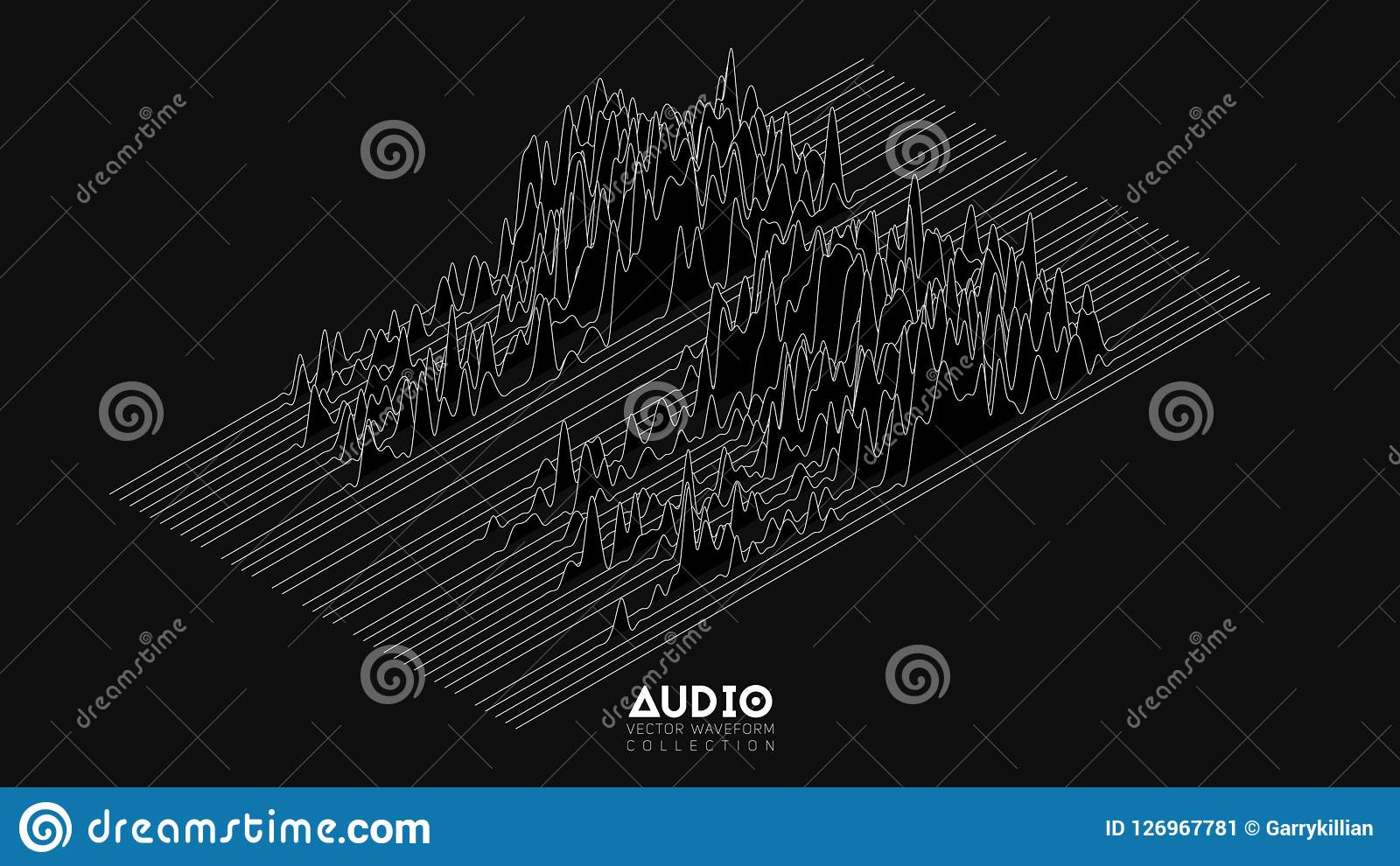 Vector 3d Echo Audio Wavefrom Spectrum  Abstract Music Waves