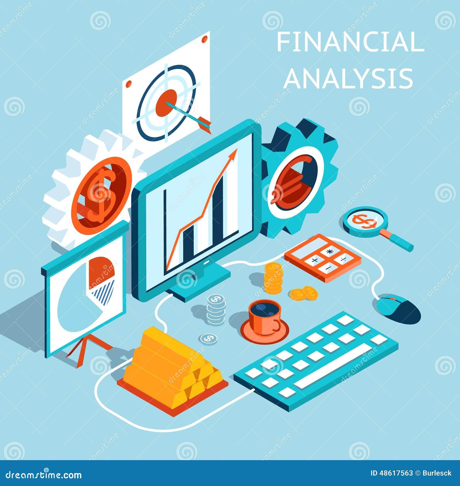 Finance Background: Vector 3D Financial Analysis Concept Design Stock Vector