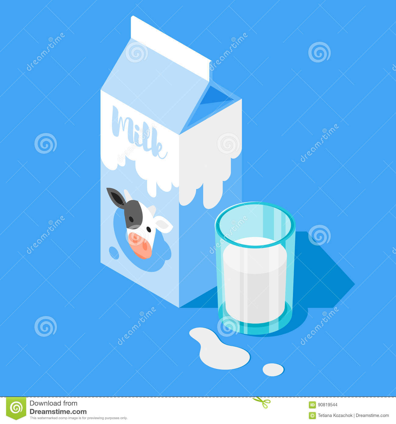 Vector 3d isometric illustration of milk packing and a glass of milk on blue background.