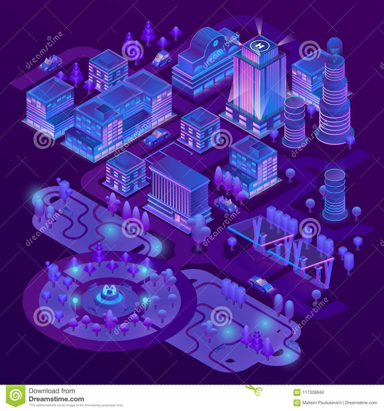 Vector 3d isometric megapolis in ultraviolet colors