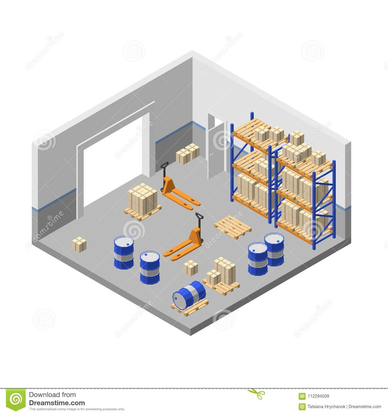 Vector 3d Isometric Storage, Factory Warehouse, Storehouse