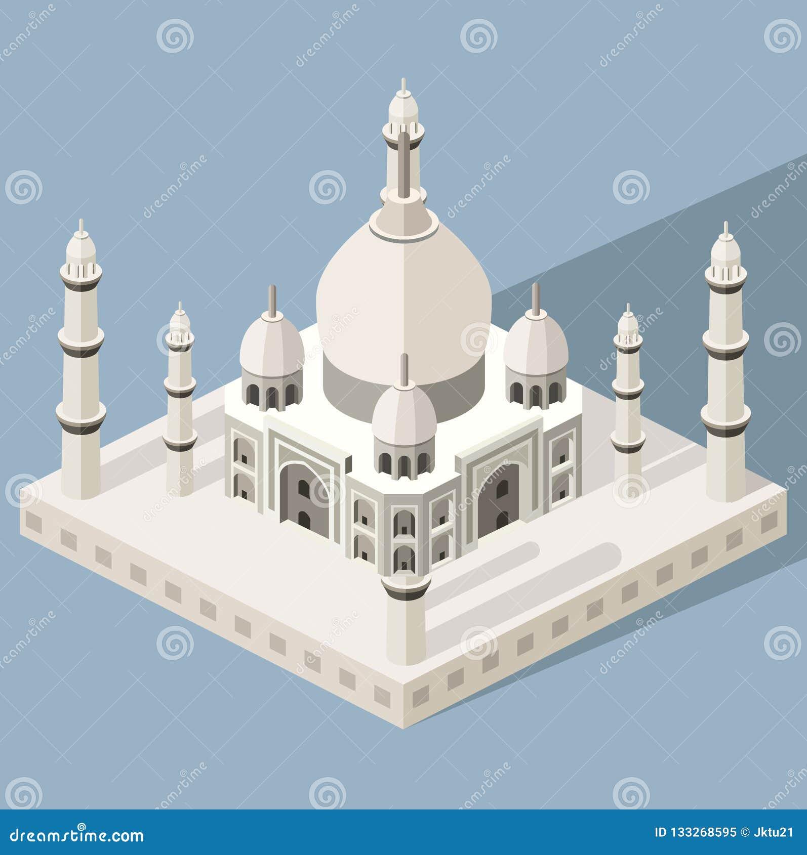 Vector 3d isometrisch pictogram van Taj Mahal-mausoleum met kleurrijke vlakke stijlschaduw en achtergrond
