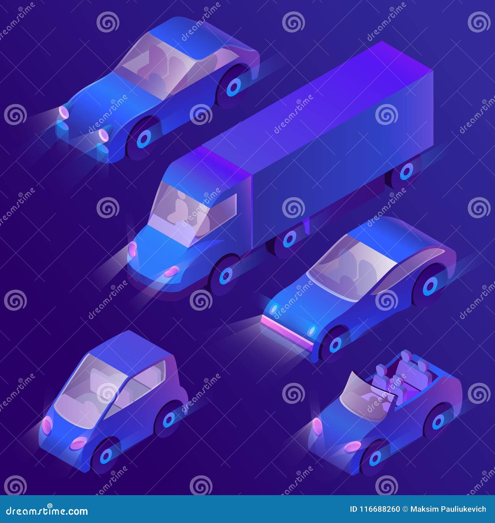 Vector 3d isometrische violette auto s met koplampen