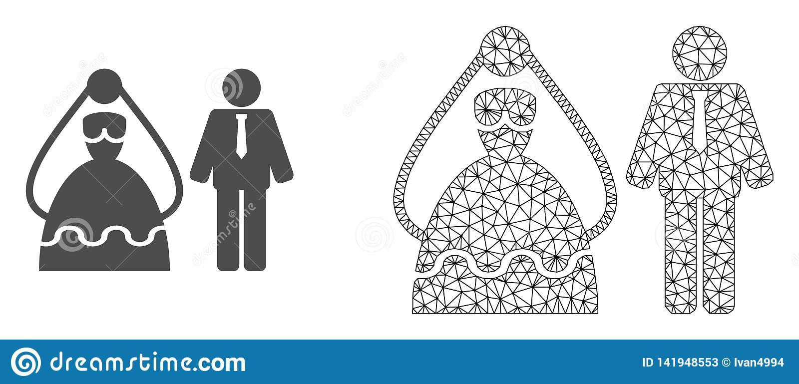Vector 2D Mesh Marriage Persons and Flat Icon