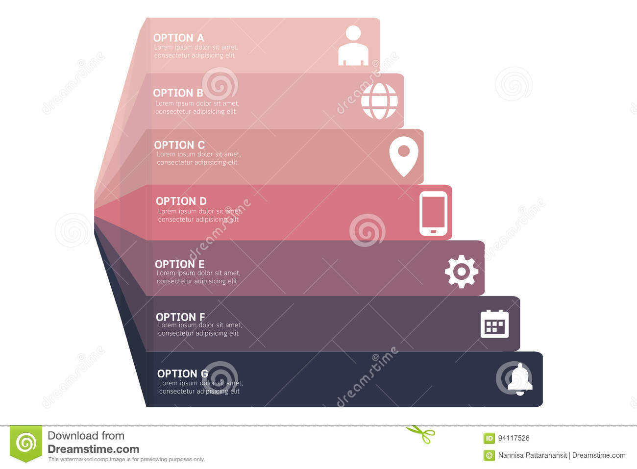 Vector 3d perspective infographic, diagram chart, graph presentation template. Communication infographics concept with A-G options