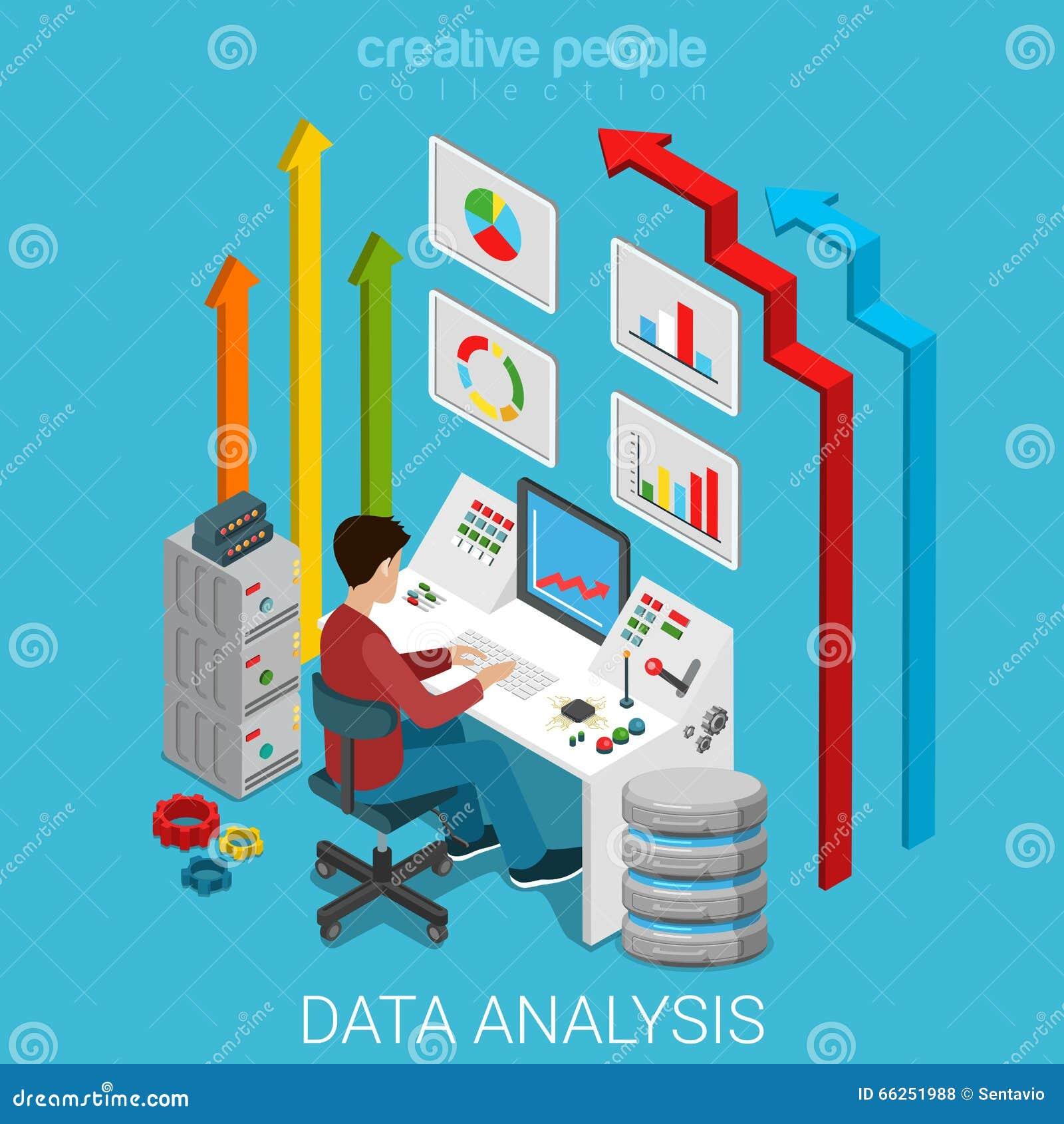 Vector 3d plano del servidor del márketing de negocio del análisis de datos isométrico