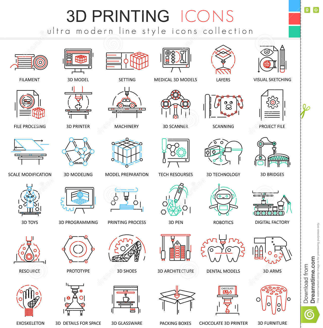 Vector 3d Printing Color Line Outline Icons For Apps And Web Design