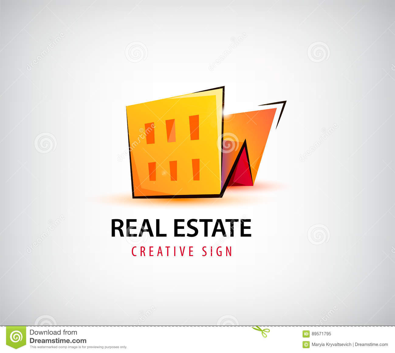 Vector 3d Real Estate Building House Logo Isolated Stock