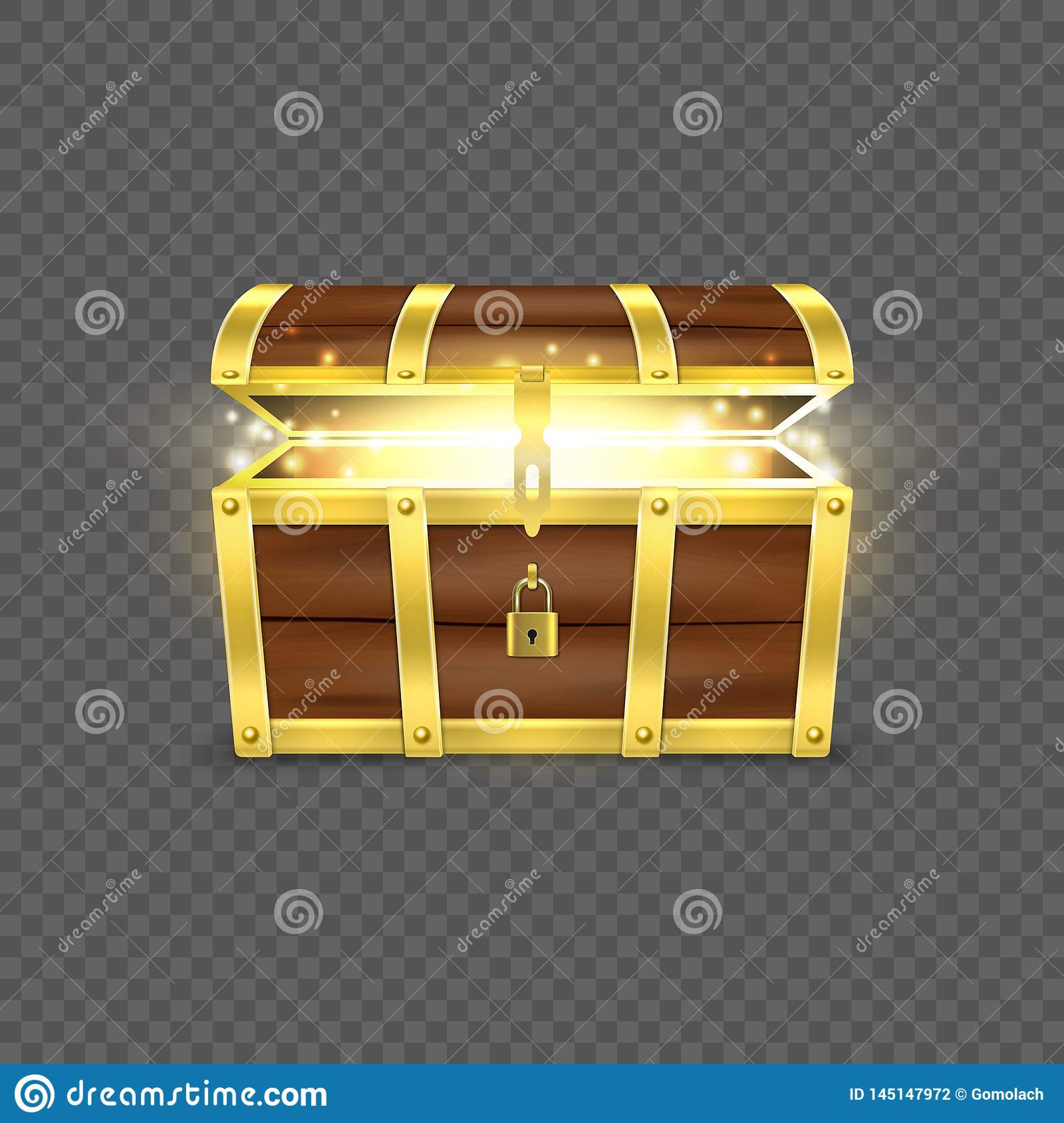 Vector 3d Realistic Opened Empty Retro Vintage Antique Old Treasure Wooden brown Pirate Dower Chest with a Glow, Golden