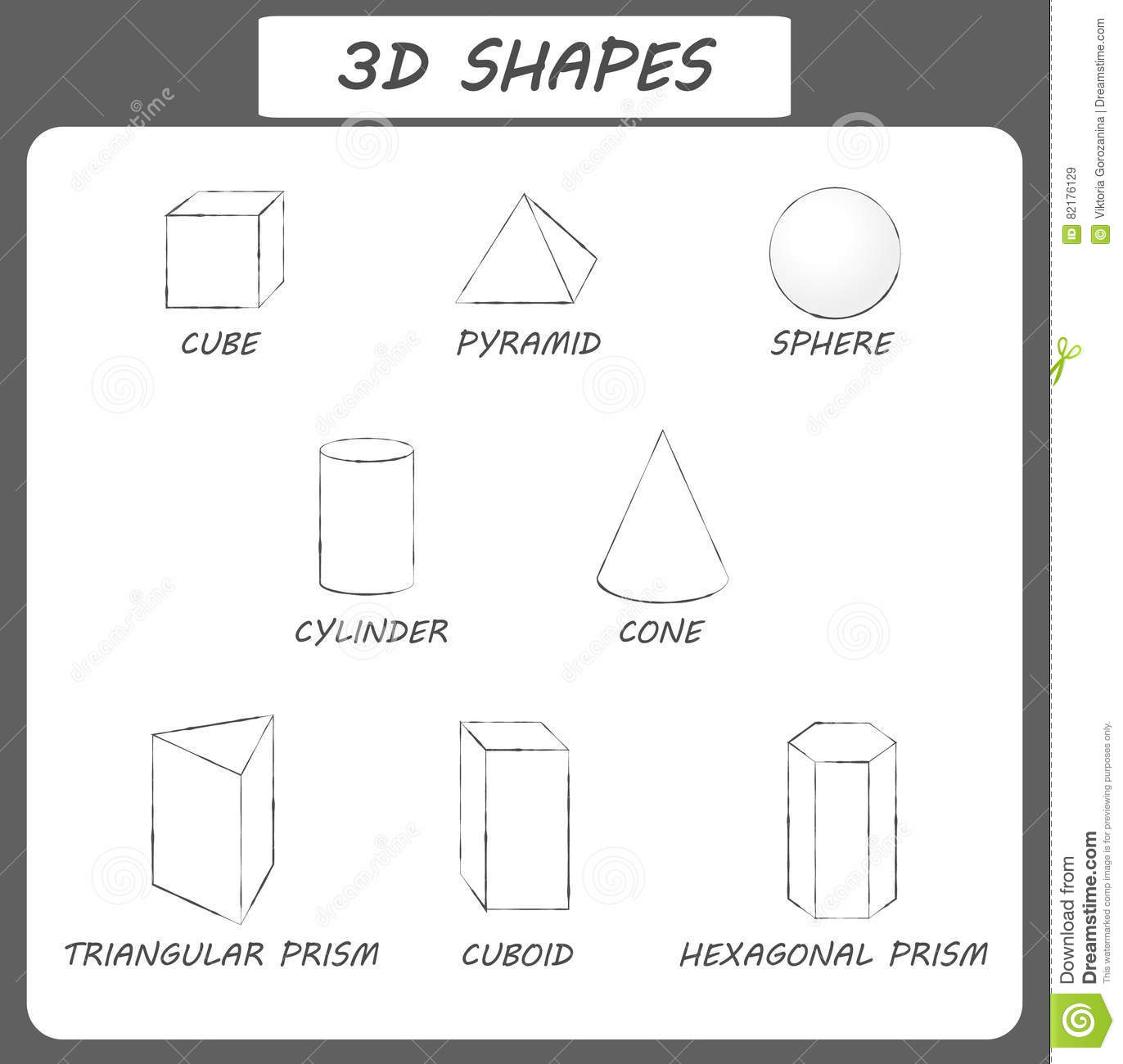 Vector 3d Shapes.Educational Poster For Children. Set Of ...