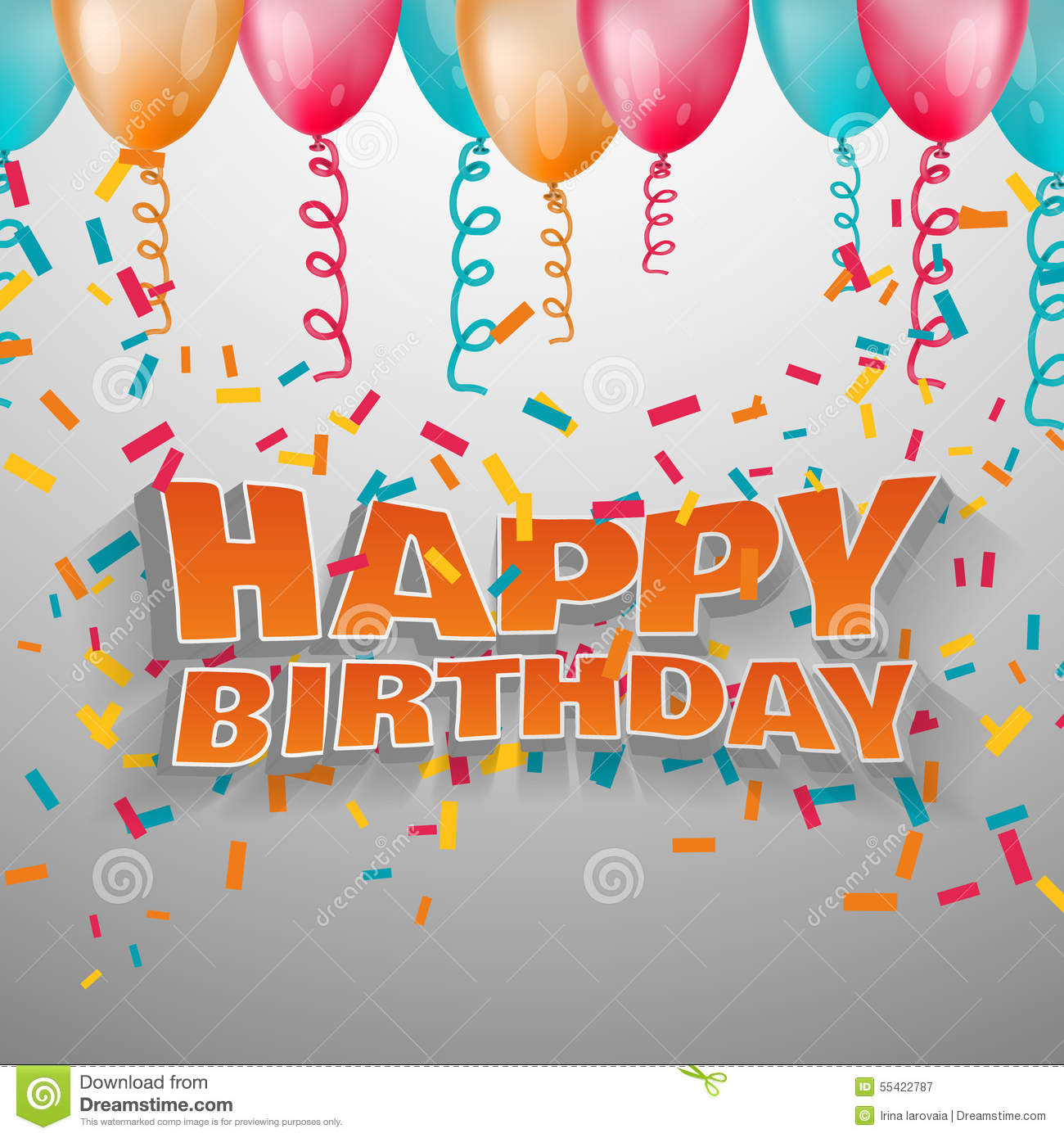 Vector 3d Text Happy Birthday. Stock Vector