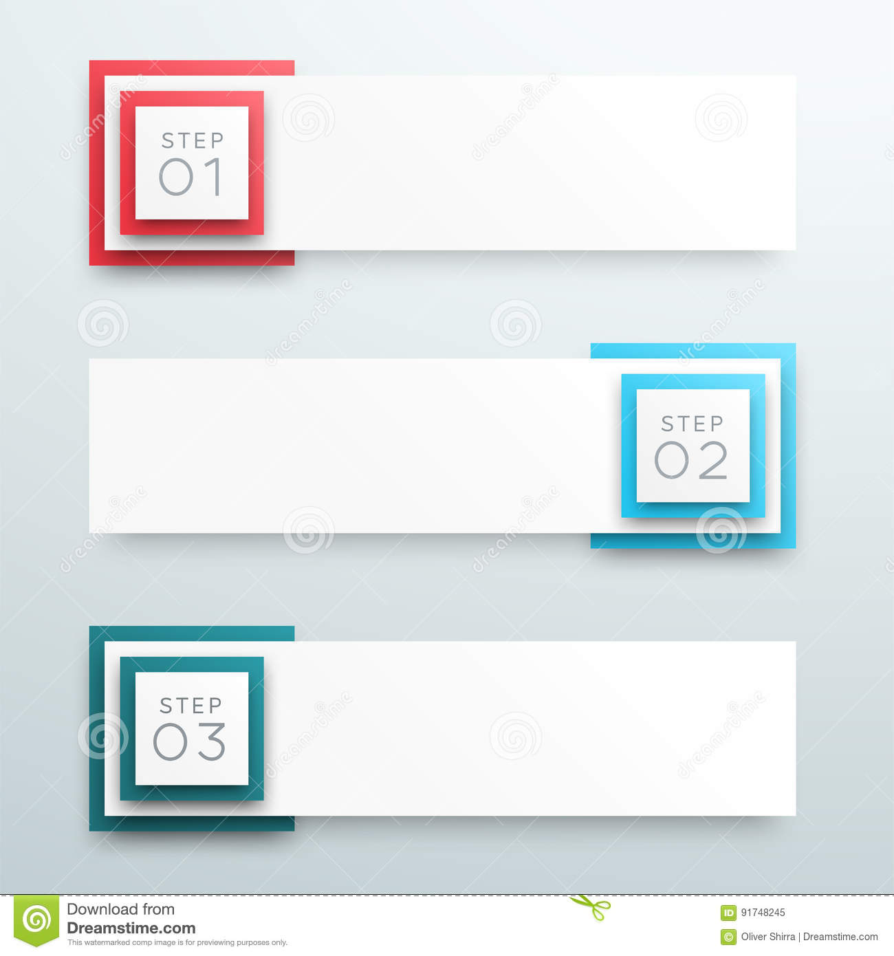 Vector 3d 1 To 3 Text Box Banner Steps Infographic A Stock