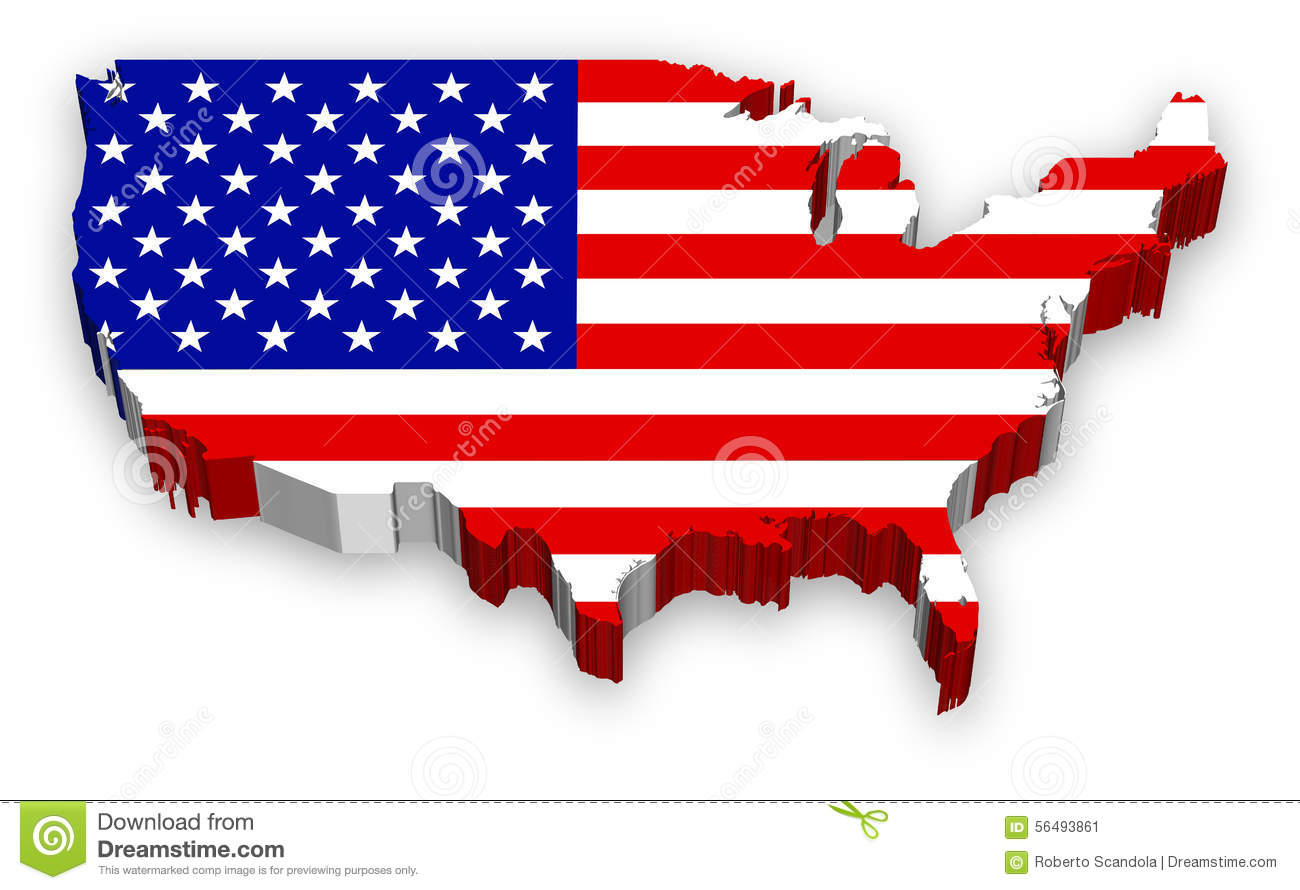 Vector 3D USA map flag stock vector. Illustration of symbol - 56493861