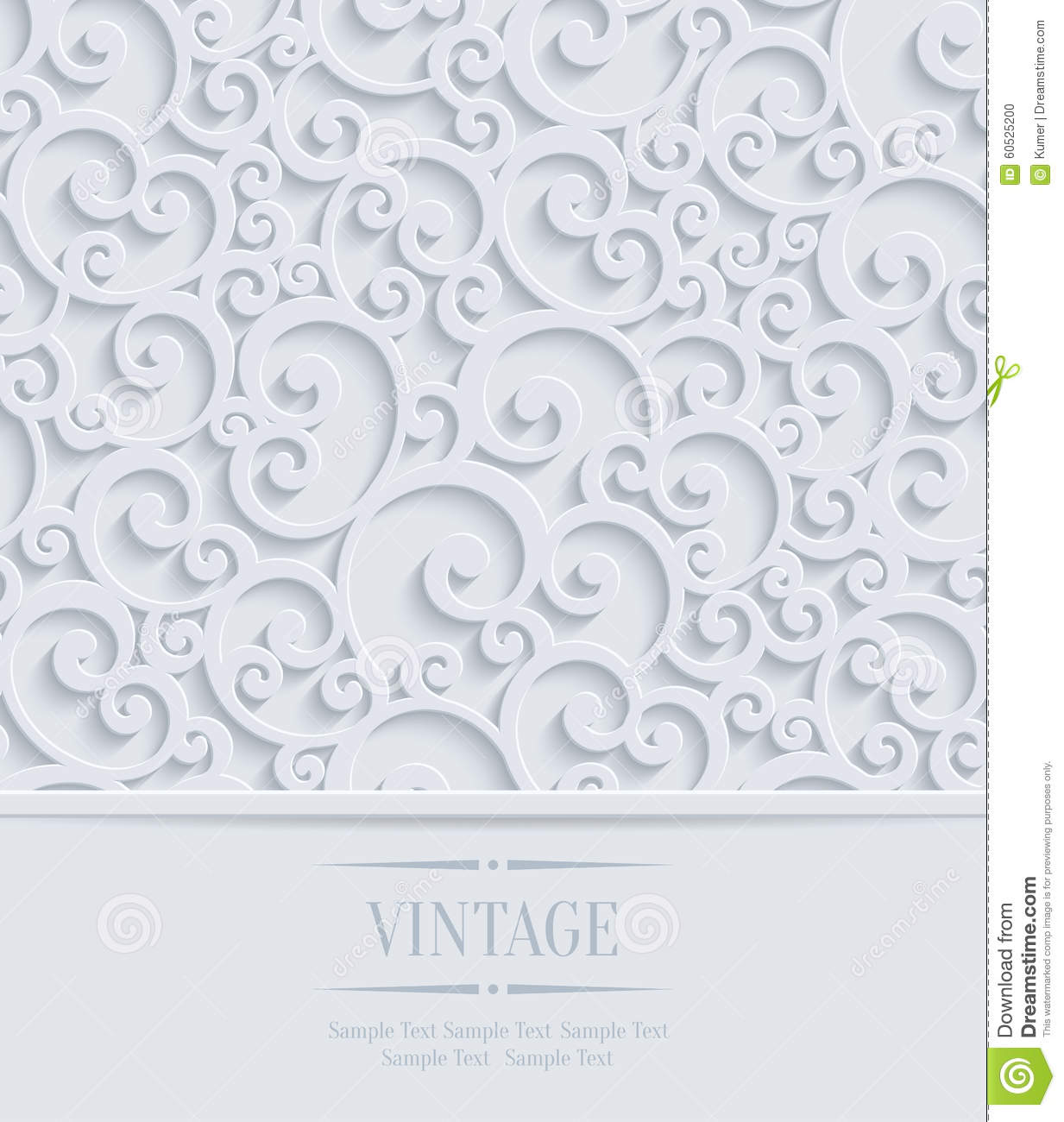 Vector 3d vintage invitation card with floral swirl pattern stock vector 3d vintage invitation card with floral swirl pattern stopboris Choice Image