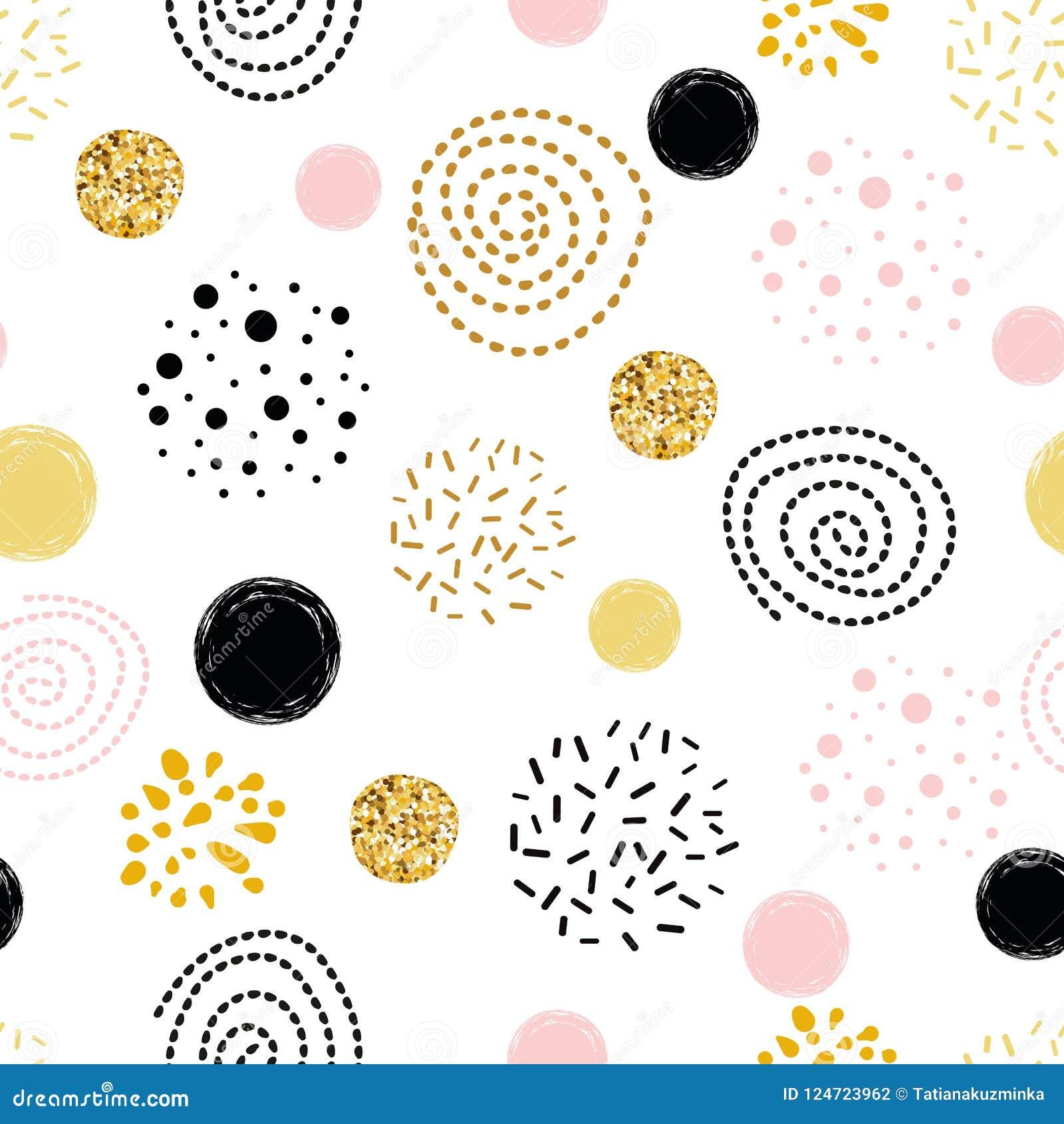 Vector da mão dourada do sumário do às bolinhas do teste padrão ornamento sem emenda elementos tirados decorados do círculo, cor-