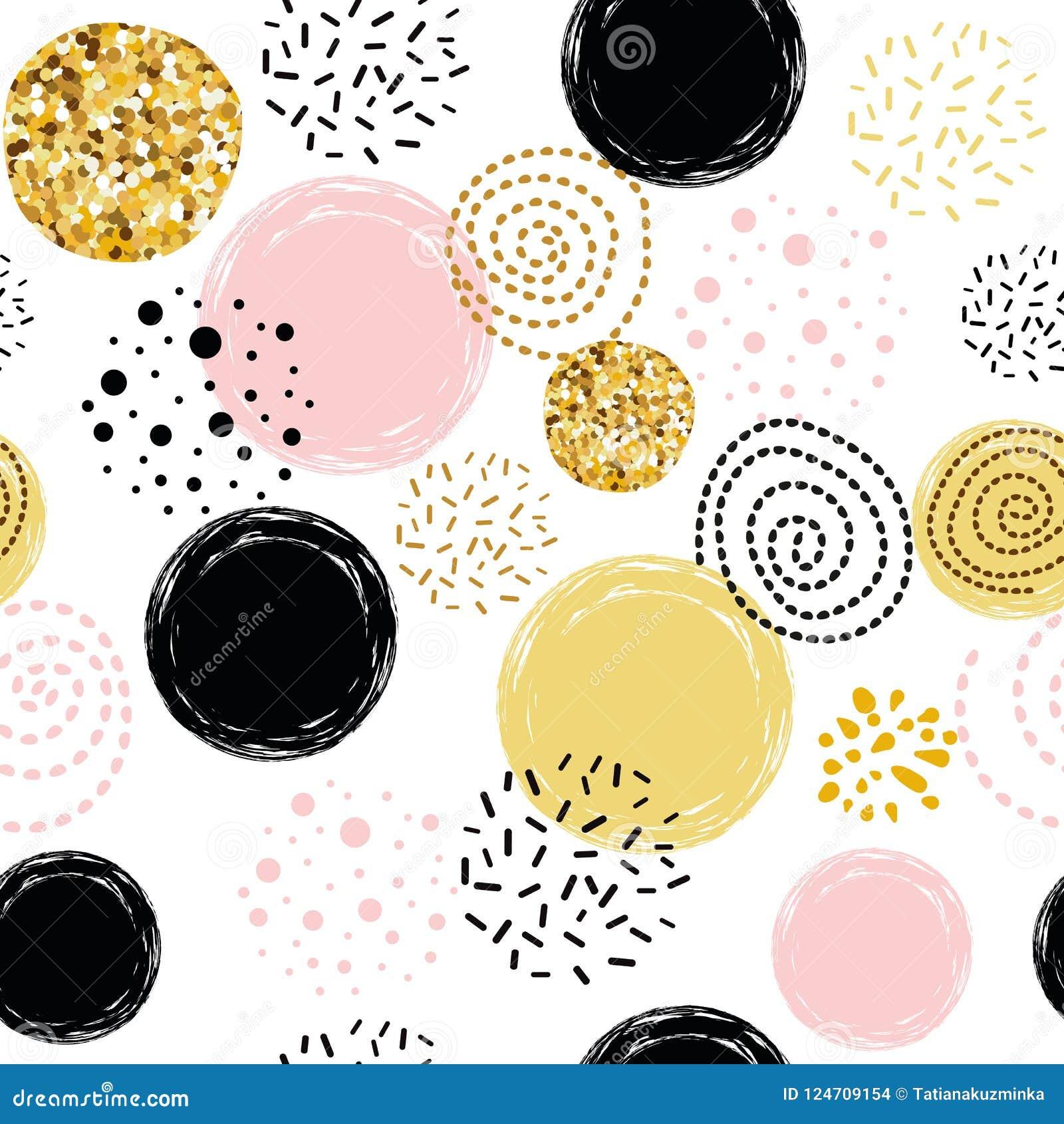 Vector da mão dourada do sumário do às bolinhas do teste padrão ornamento sem emenda elementos tirados decorados, cor-de-rosa, pr