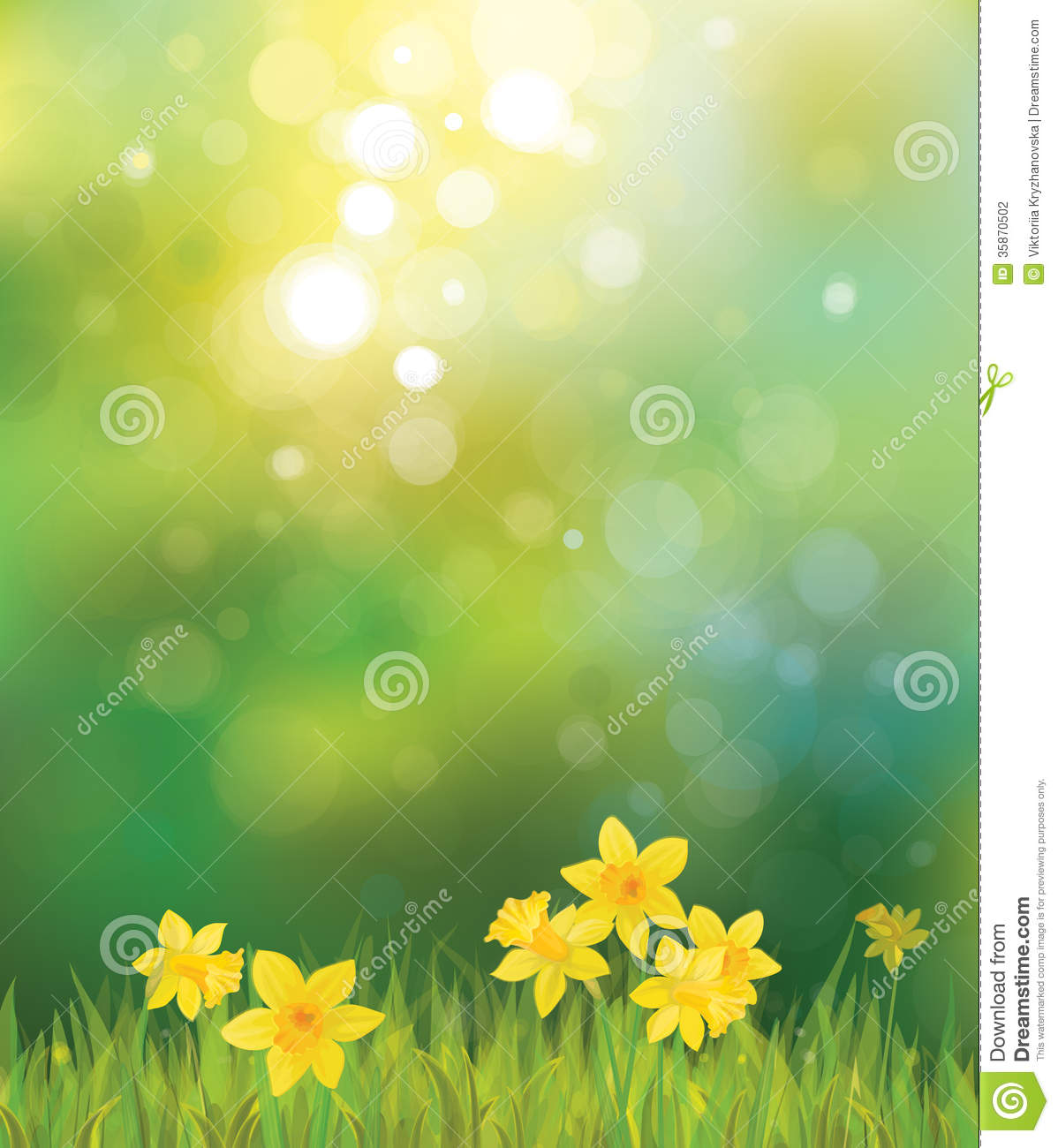 Spring Flower With Green Background Vector 02 Free Download: Vector Of Daffodil Flowers On Spring Background. Stock