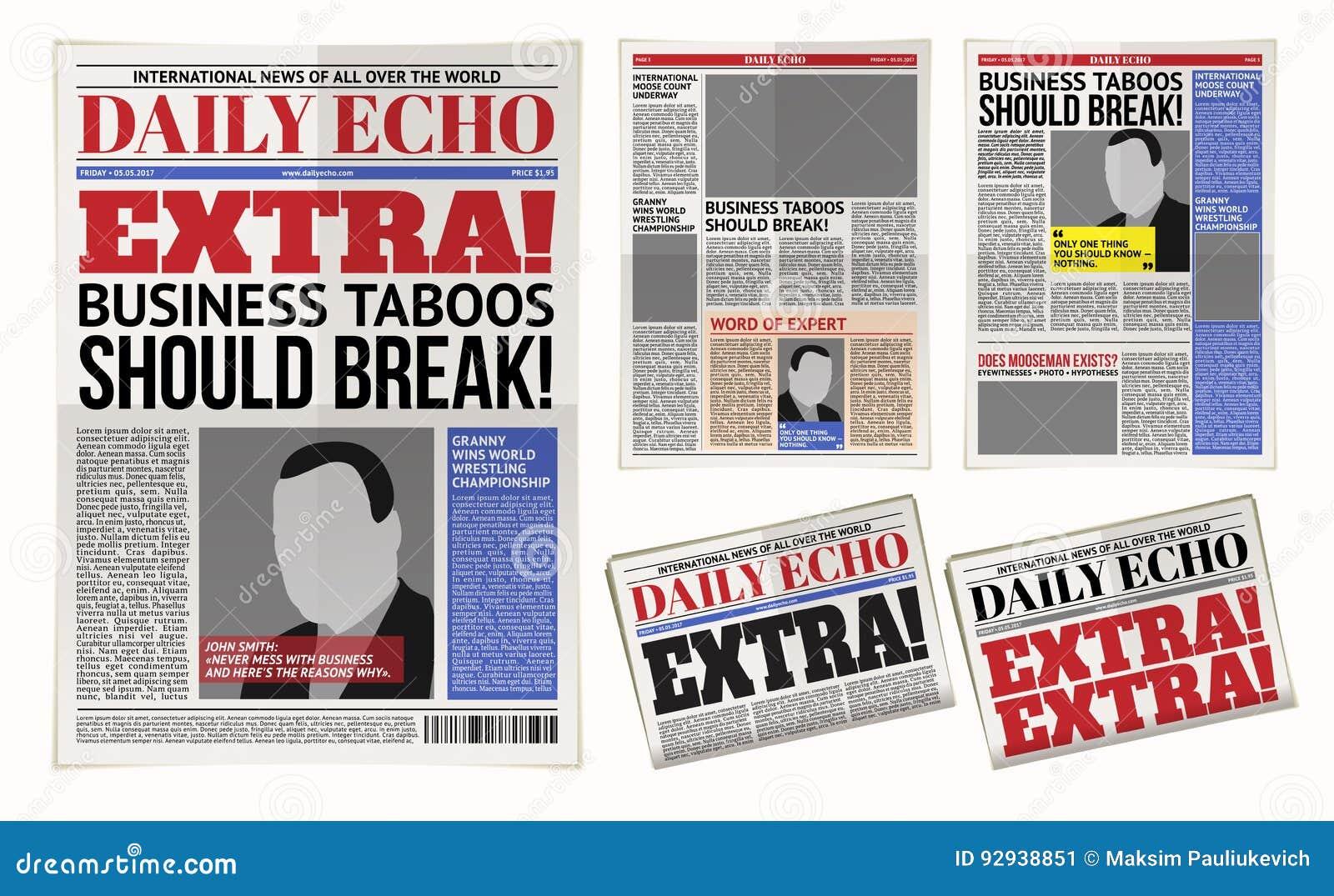 Vector dagelijks krantenmalplaatje, tabloid, lay-out het posten rapportage