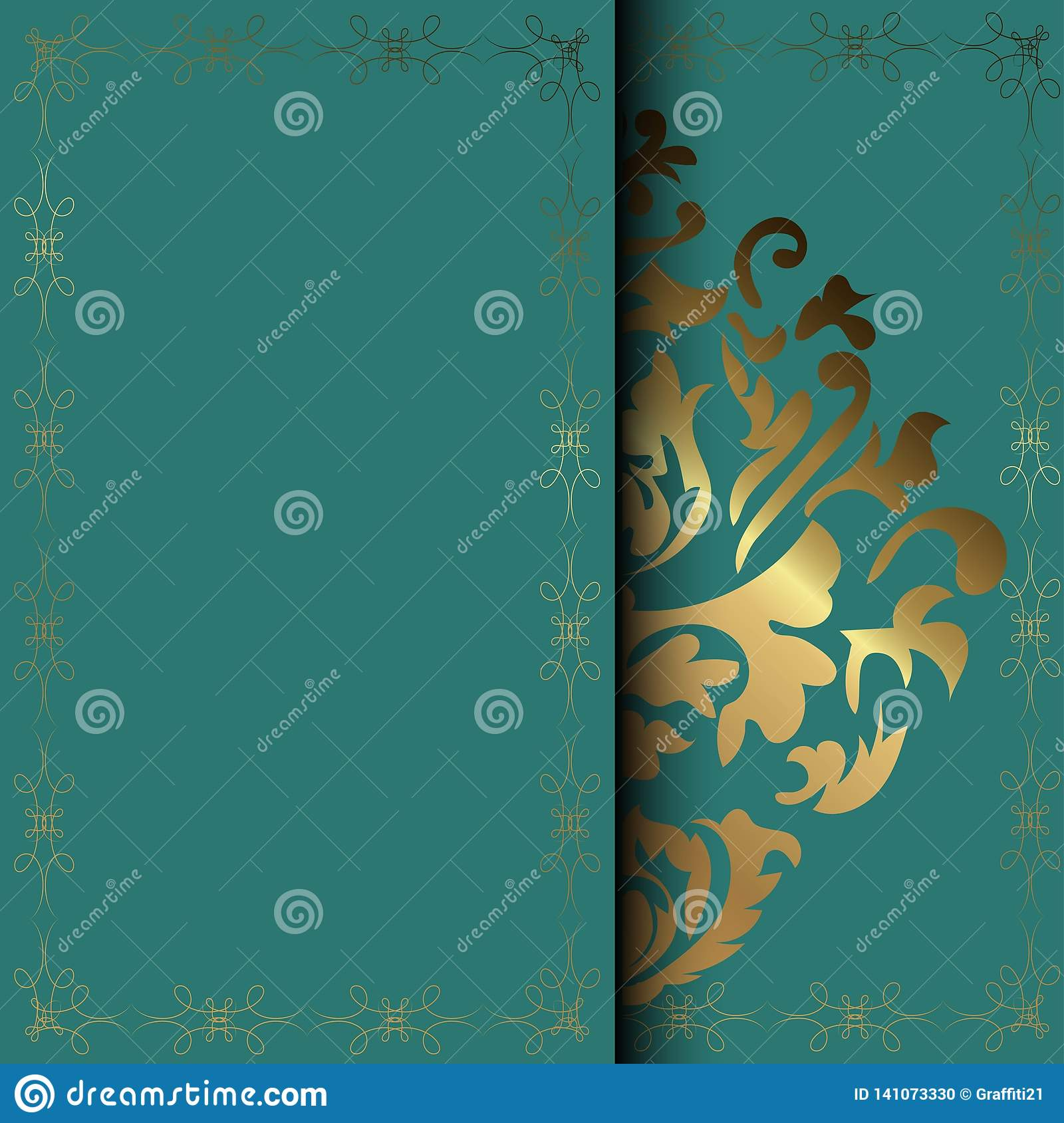 Vector Damask Frame Easy To Scale And Edit Invitation Card