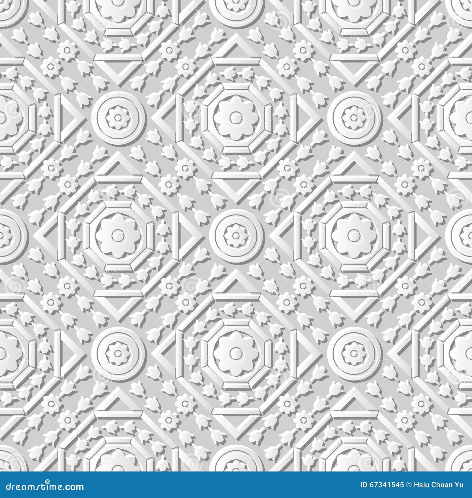 vector damask seamless 3d paper art pattern background 219