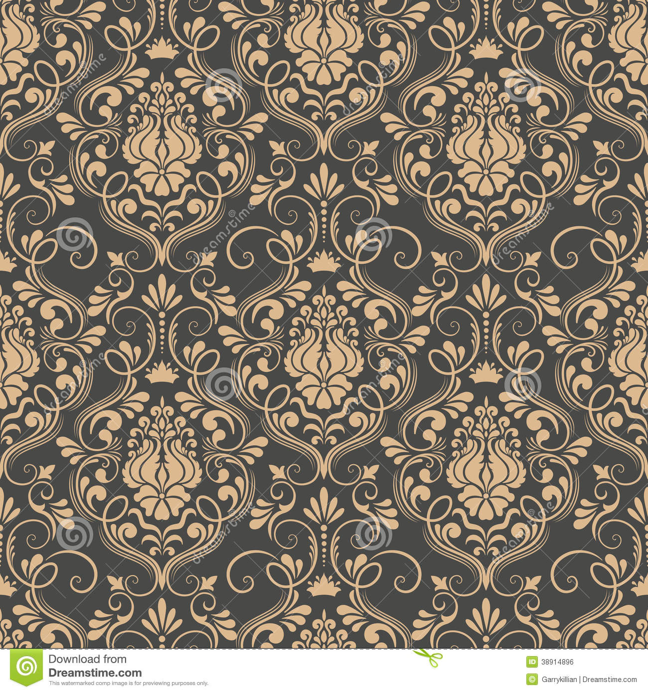 Vector Damask Seamless Pattern Background. Stock Vector ...