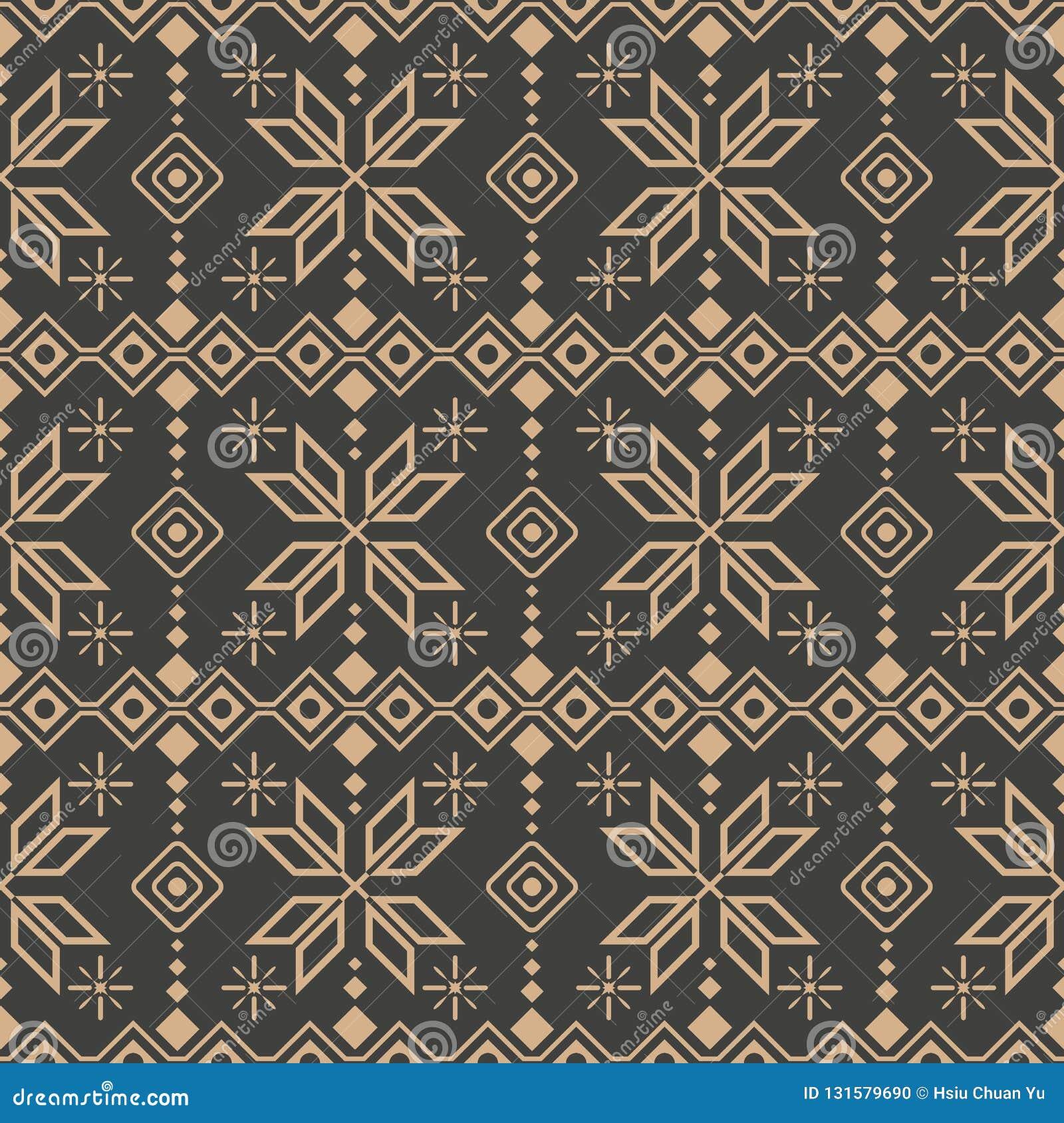Vector damask seamless retro pattern background check polygon geometry cross star frame line flower. Elegant luxury brown tone