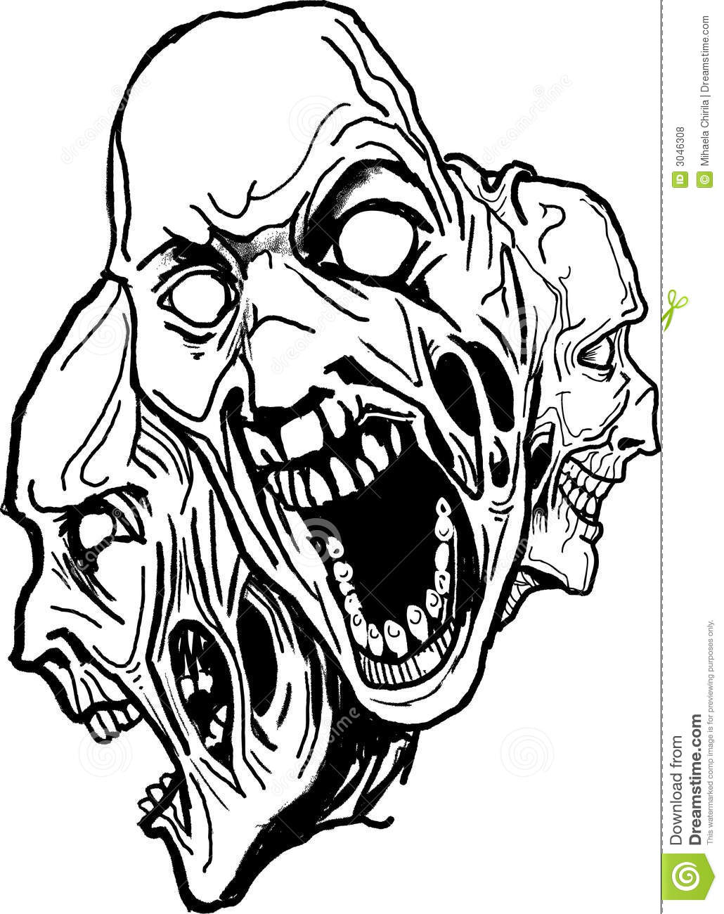 Zombie Face Line Drawing : Vector dark art royalty free stock photos image