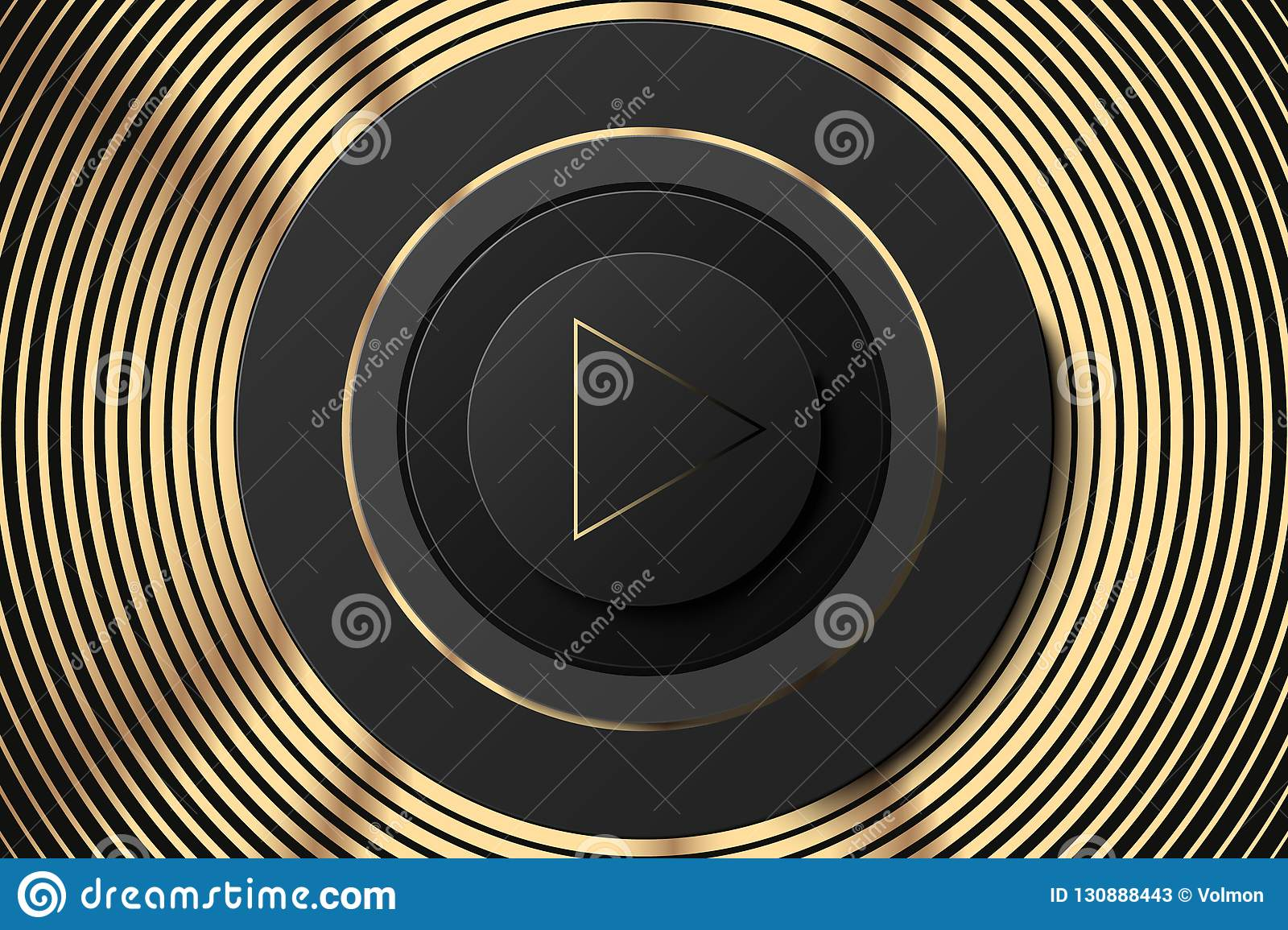 Vector Dark Circle Icon With Play Button Black And Gold