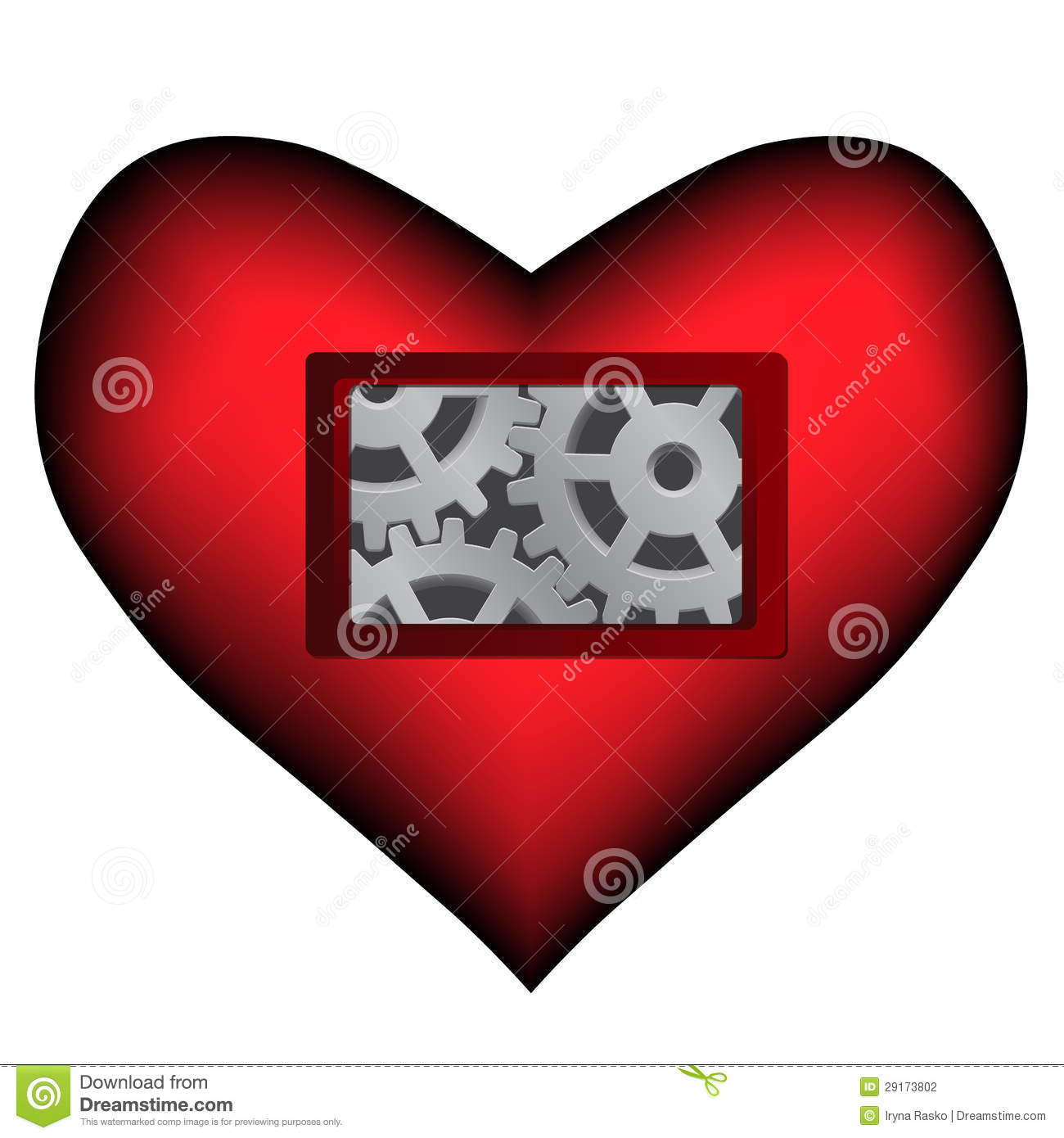 Vector dark red heart with mechanical inside