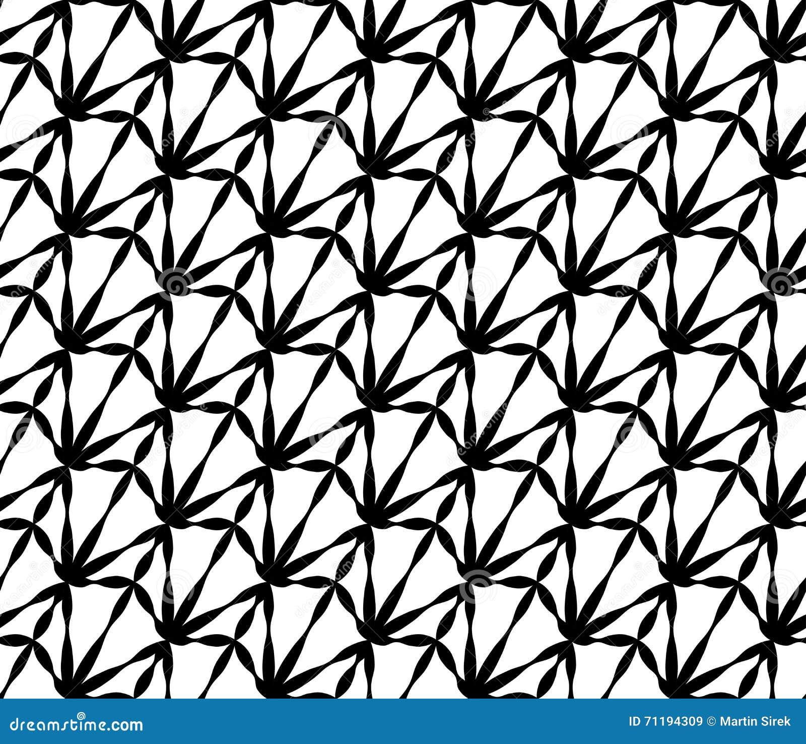 Vector das moderne nahtlose sonderbare Geometriemuster, Schwarzweiss-Zusammenfassung