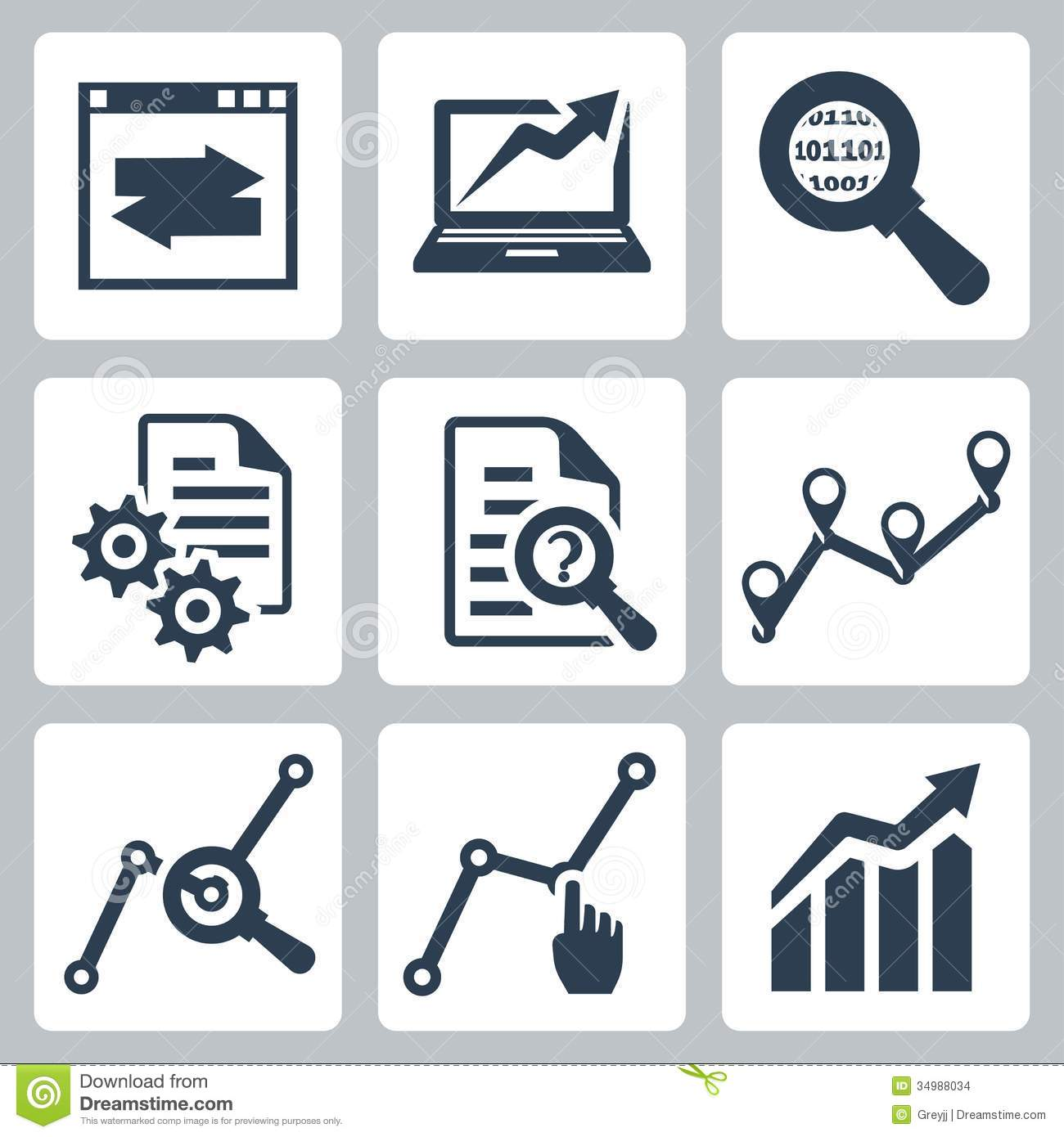 Vector Data Analysis Icons Set Stock Images - Image: 34988034