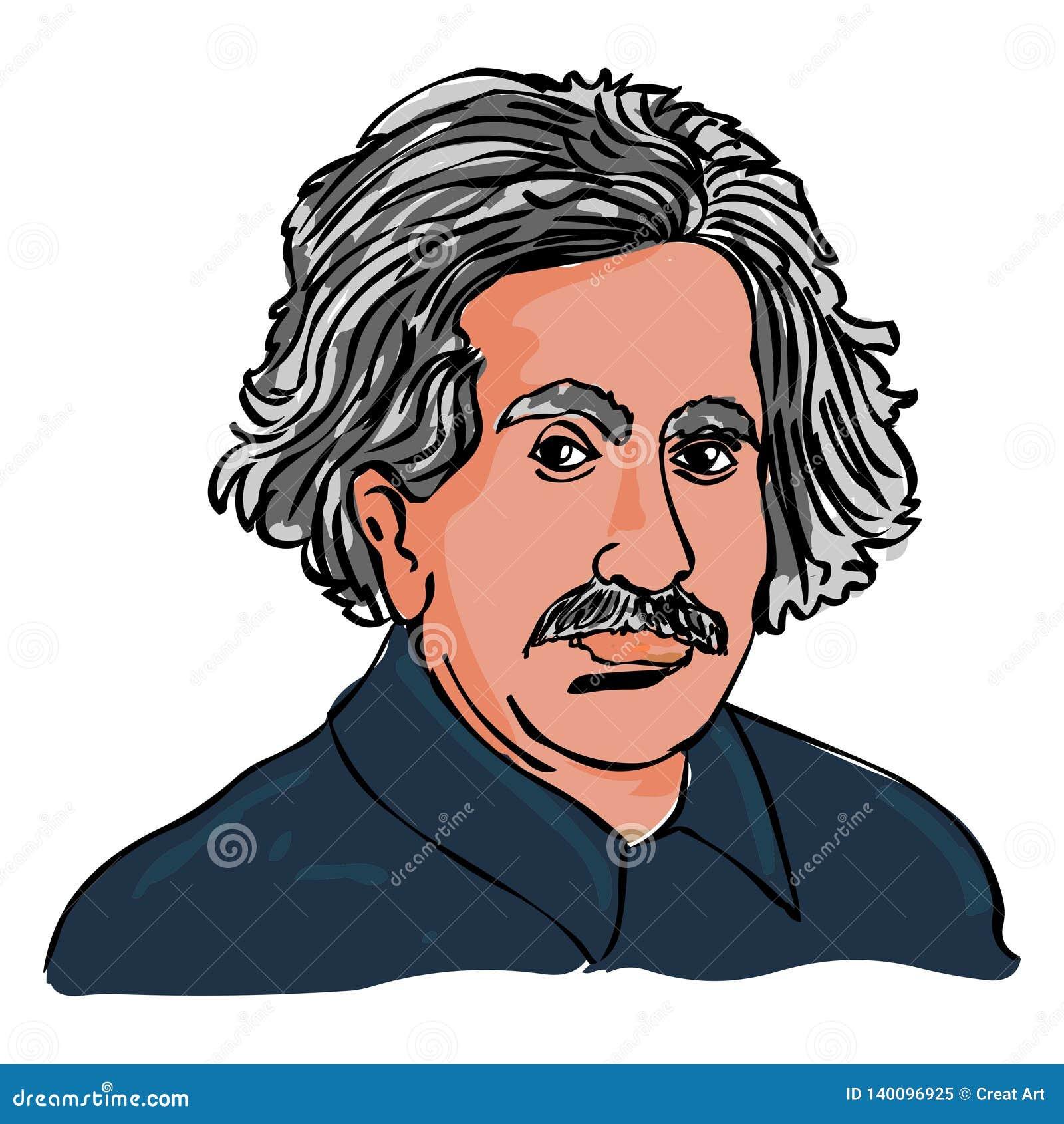 Vector de Albert Einstein Dibujo del retrato de Einstein