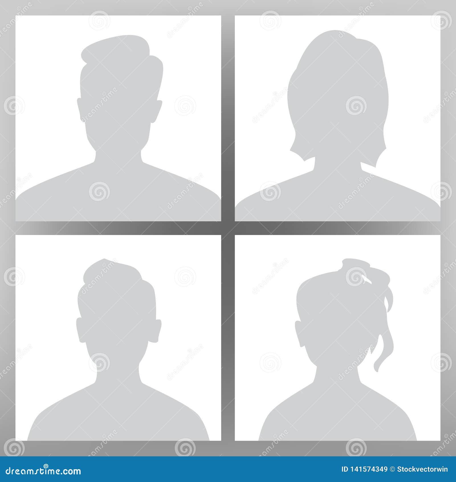 Vector de Avatar del defecto Sistema del Placeholder Hombre, mujer, muchacho adolescente del niño, muchacha Cabeza de la imagen d