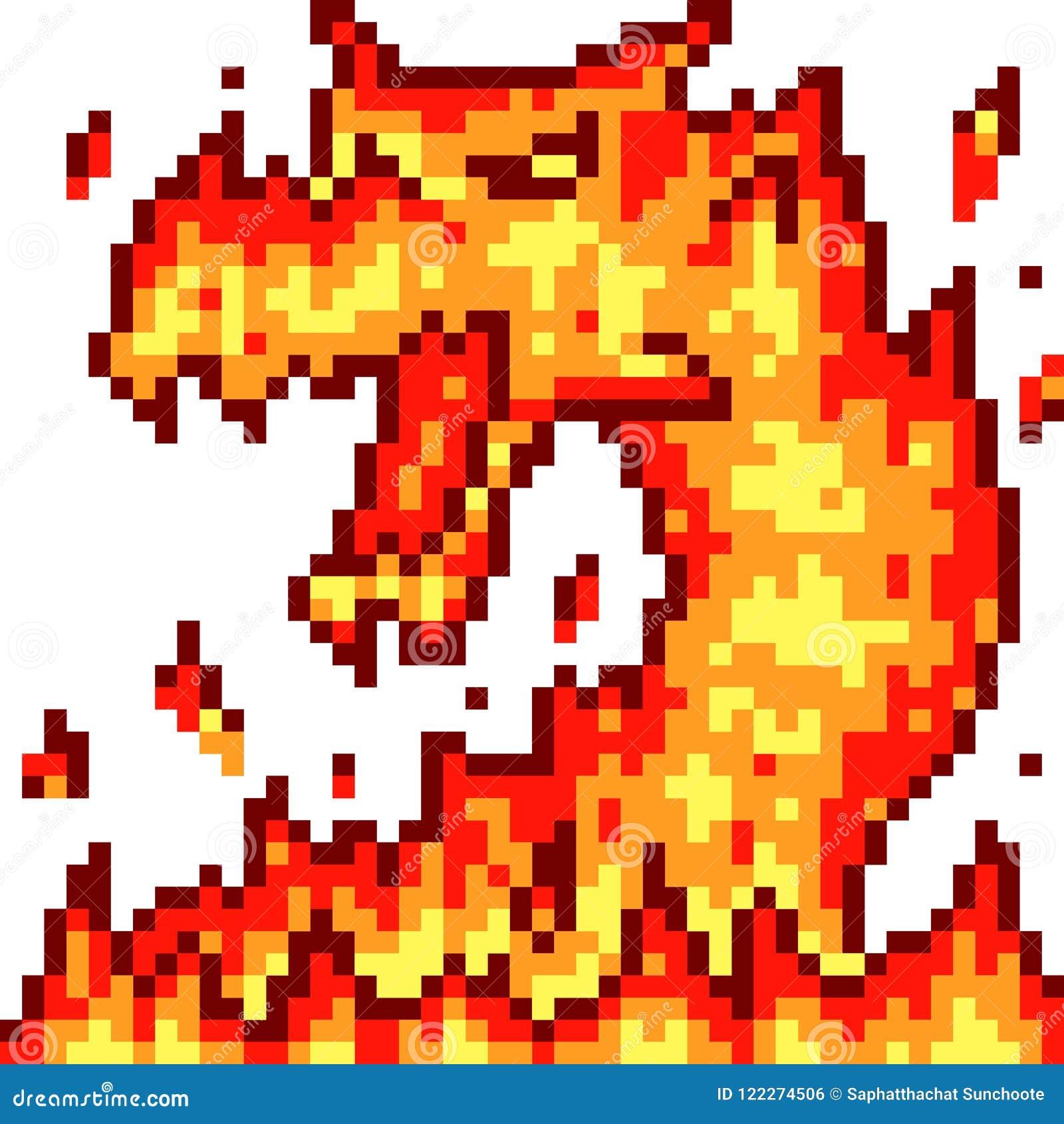 Vector de branddraak van de pixelkunst