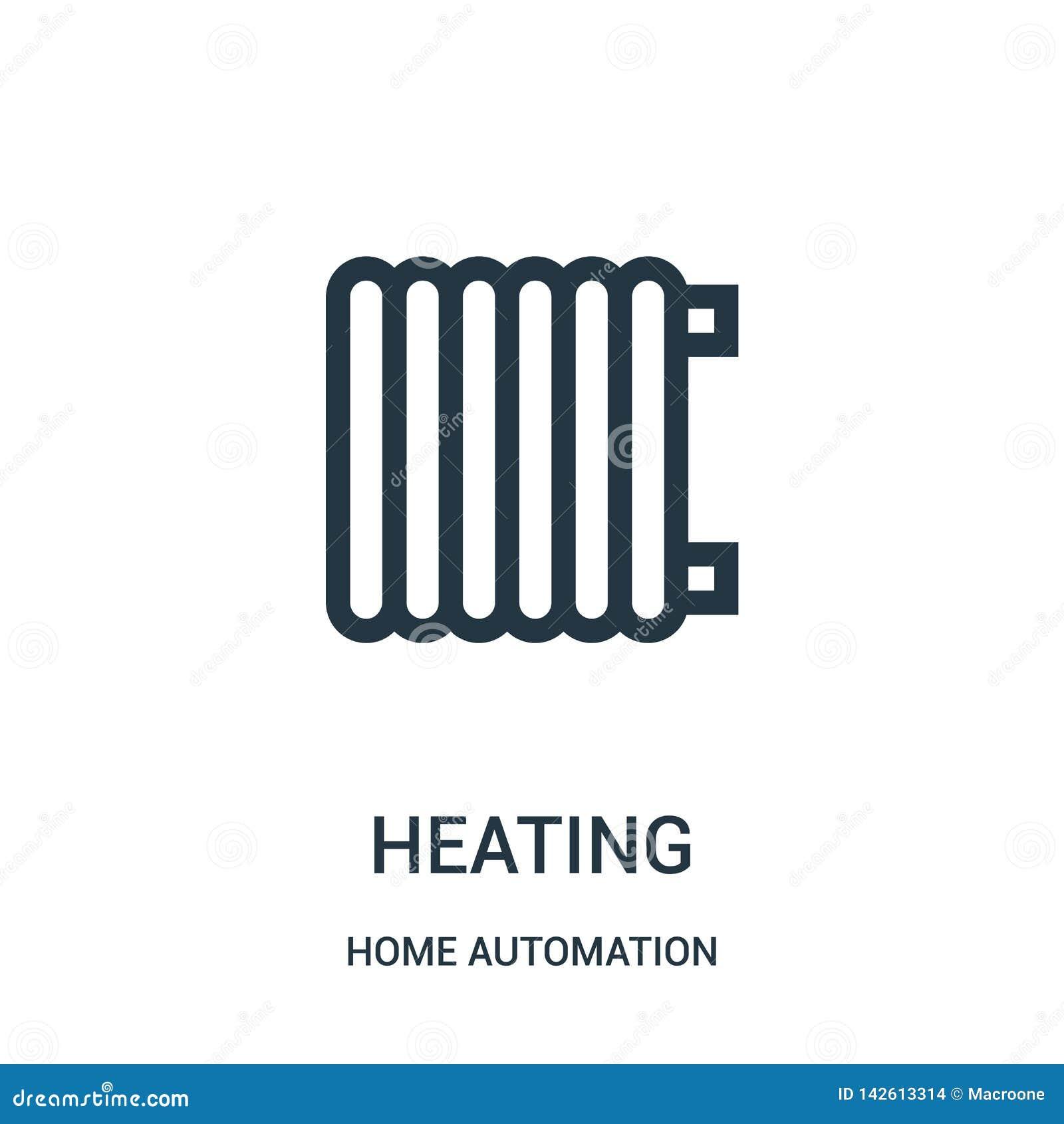 Vector de calefacción del icono de la colección de la automatización casera L?nea fina ejemplo del vector del icono del esquema d