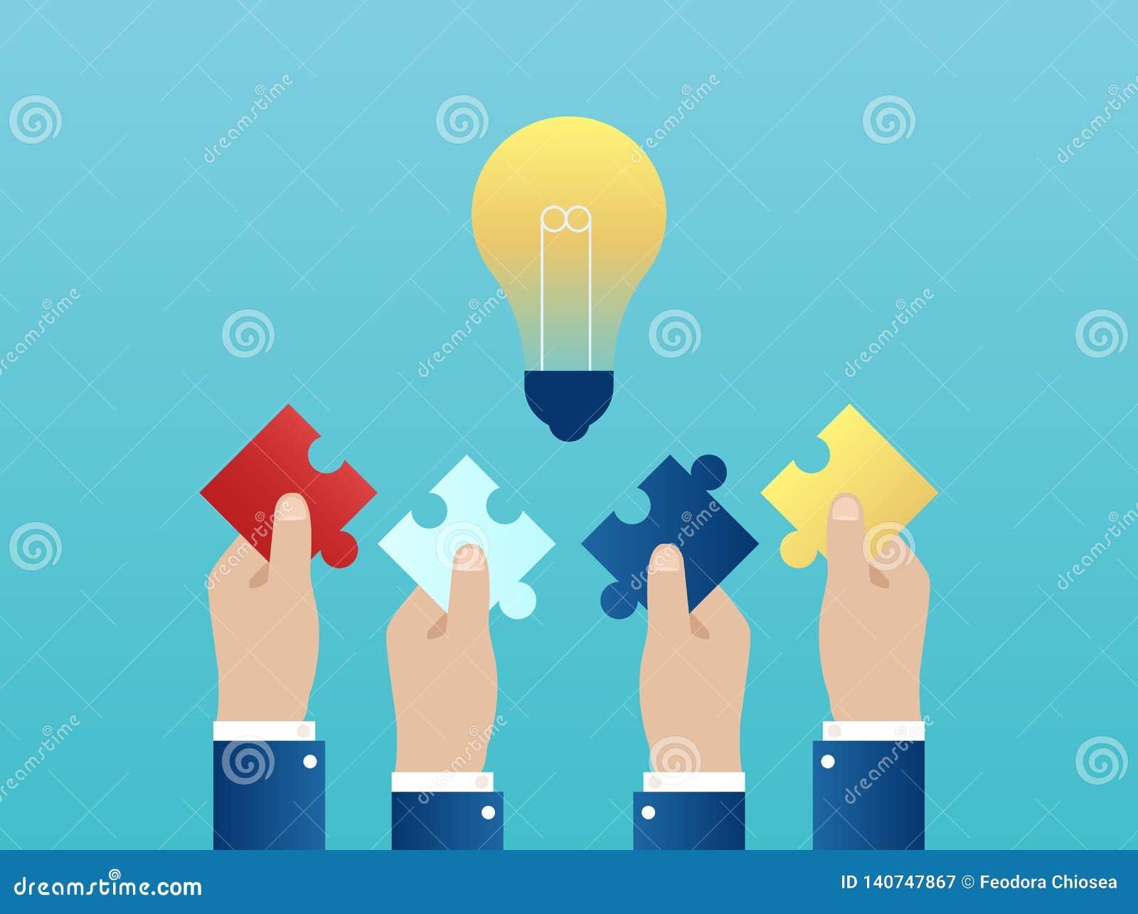 Vector de cuatro manos junto que alcanzan hacia fuera con los pedazos del rompecabezas que tienen una idea acertada