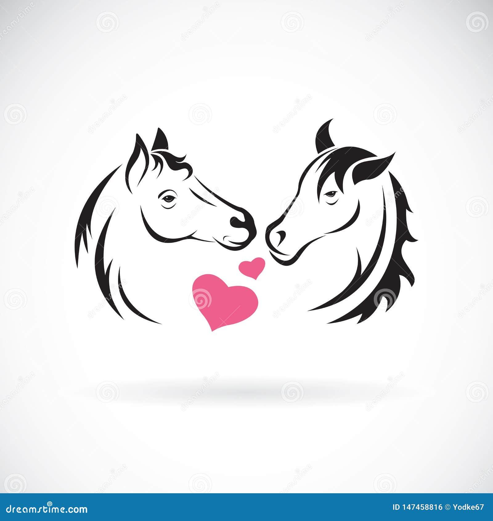 Vector de dos caballo y corazón en el fondo blanco Animales salvajes Logotipo o icono del caballo Ejemplo acodado editable f?cil