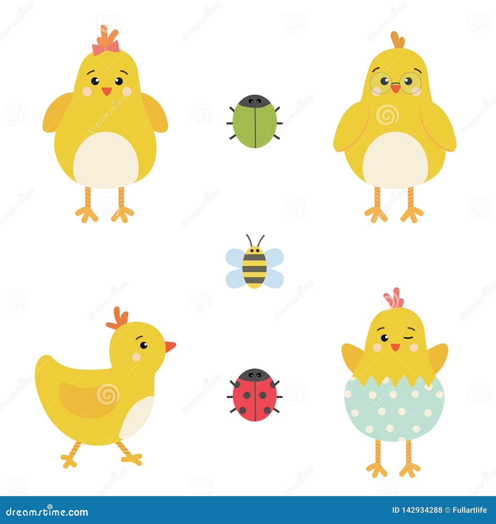 Vector de elementenreeks van Pasen van karakters van de de lente de gele kip, leuk lieveheersbeestje, kever en bij
