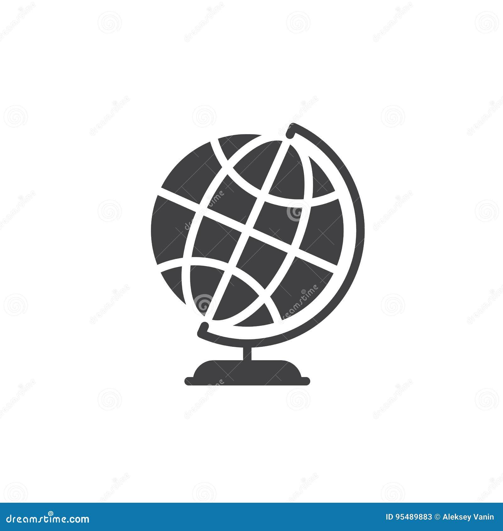 Vector de escritorio del icono del globo de la tierra del mundo, muestra plana llenada, pictograma sólido aislado en blanco