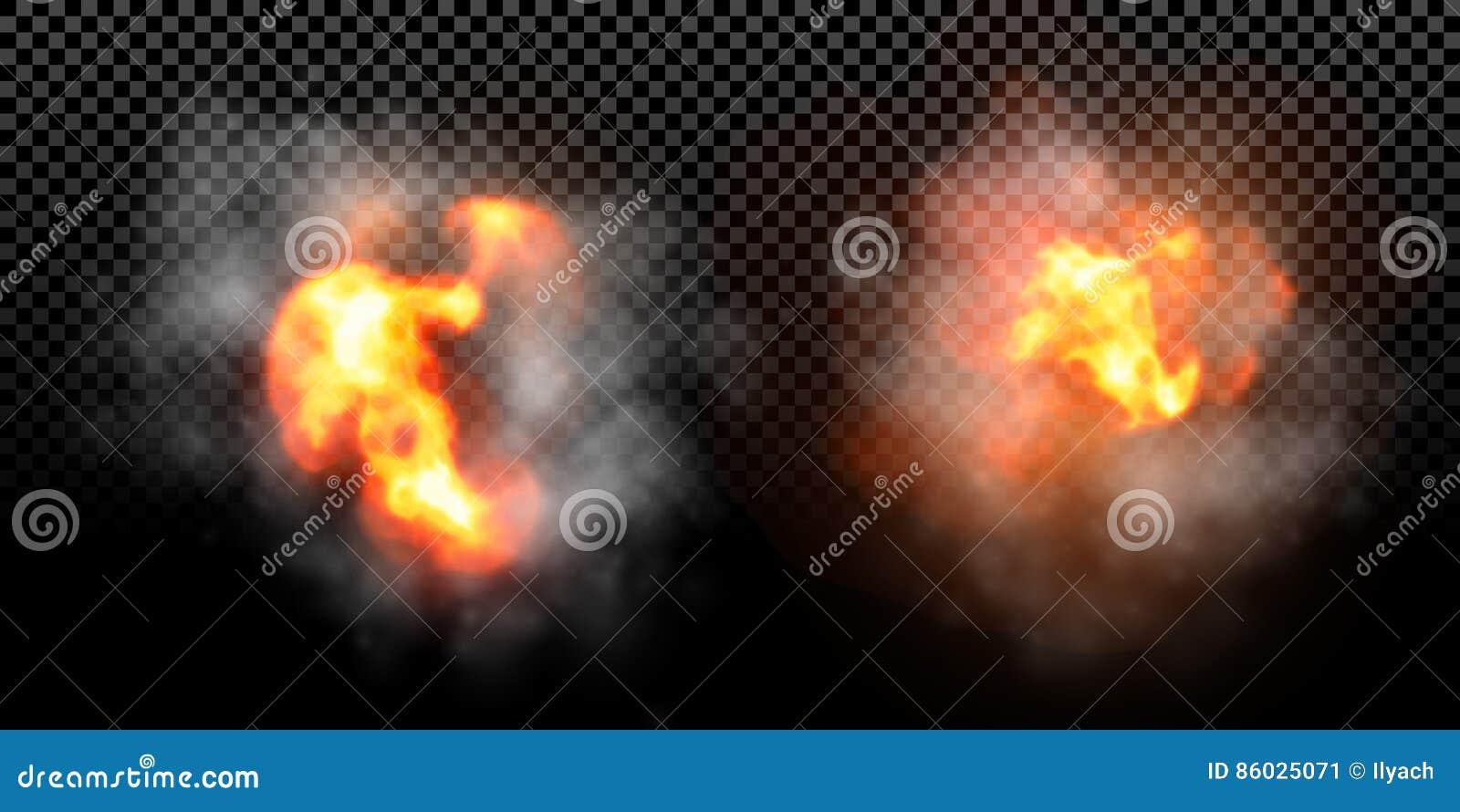 Vector de explosieeffect van de brandvlam op zwarte achtergrond