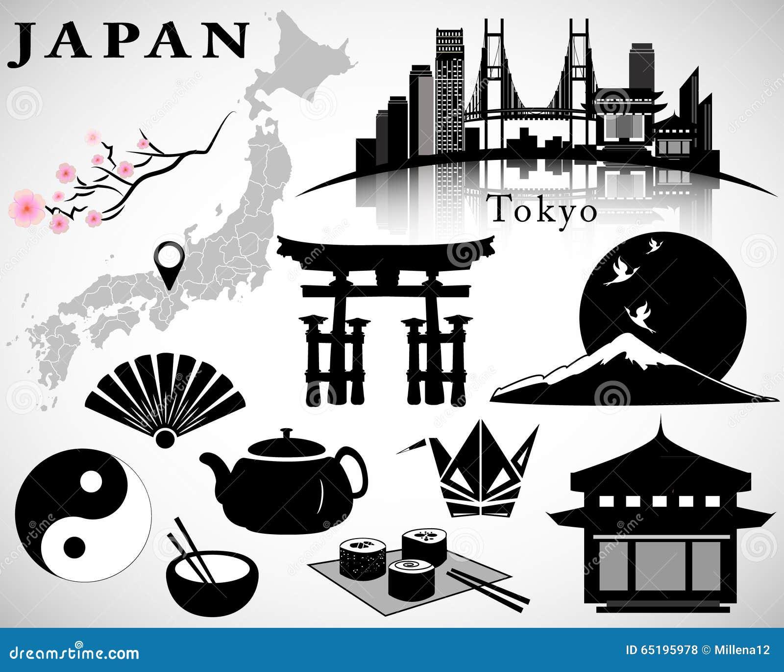 Vector De Japón Fijado: Símbolos De Japón, Mapa, Horizonte ... - photo#43