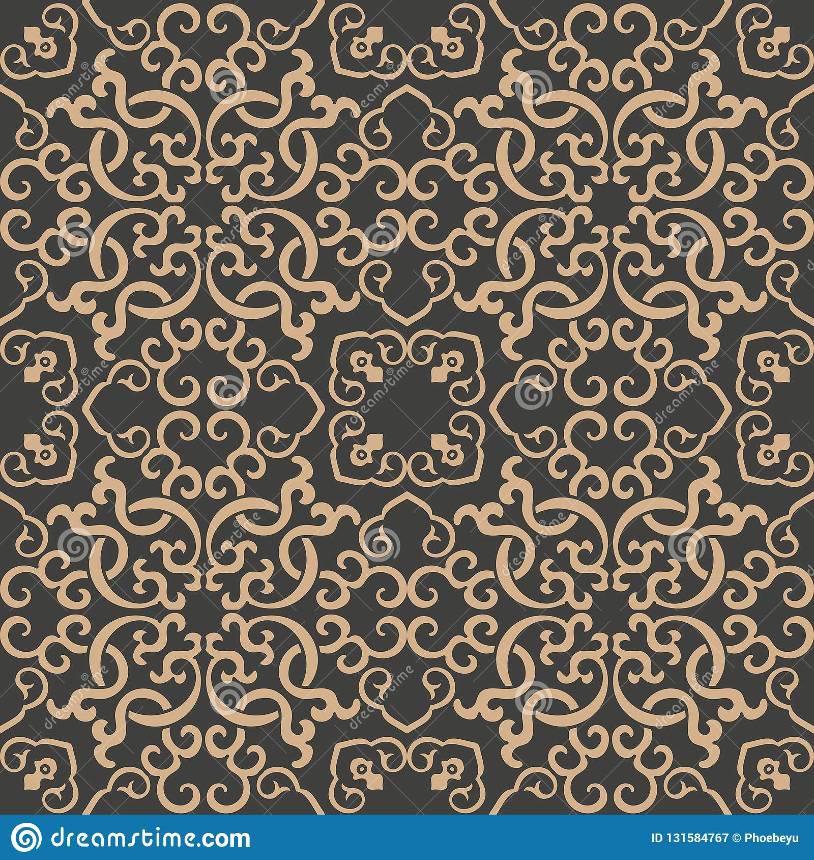 Vector de keten van het van het achtergrond damast naadloze retro patroon oosterse spiraalvormige kromme dwarskader wijnstok Het