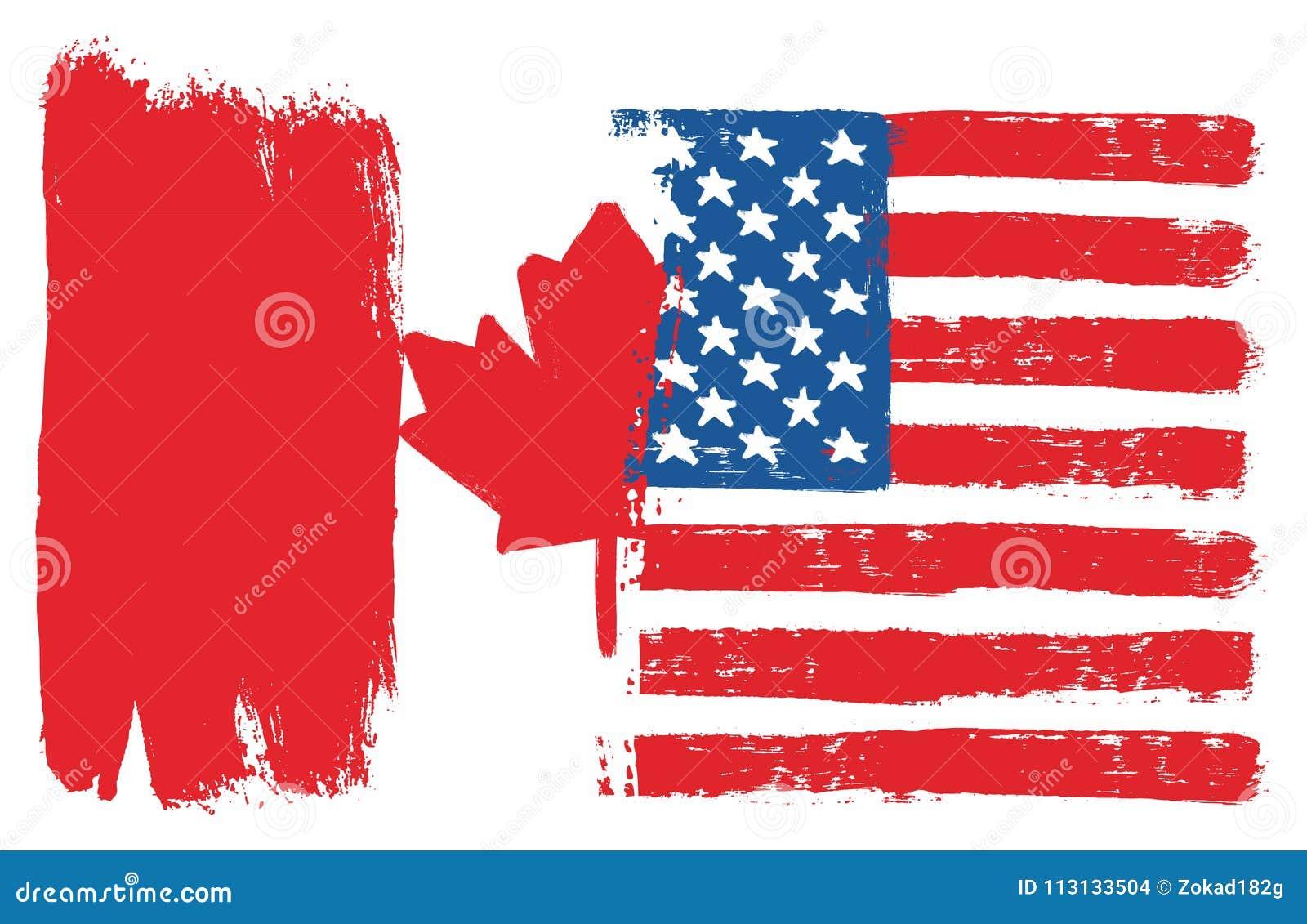 Vector De La Bandera De Canadá Y De La Bandera De Los