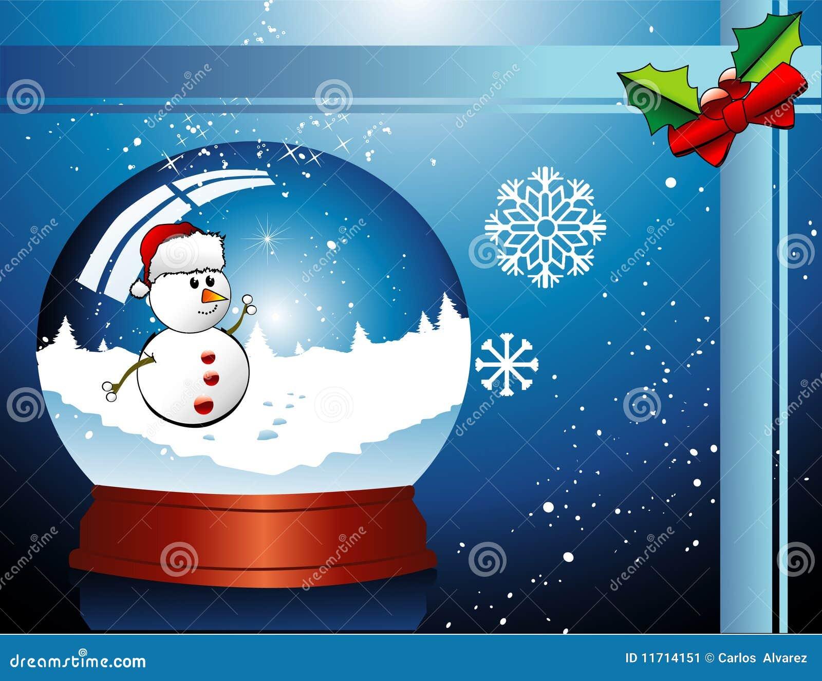 Vector de la bola de cristal de la navidad ilustraci n del - Bola nieve navidad ...
